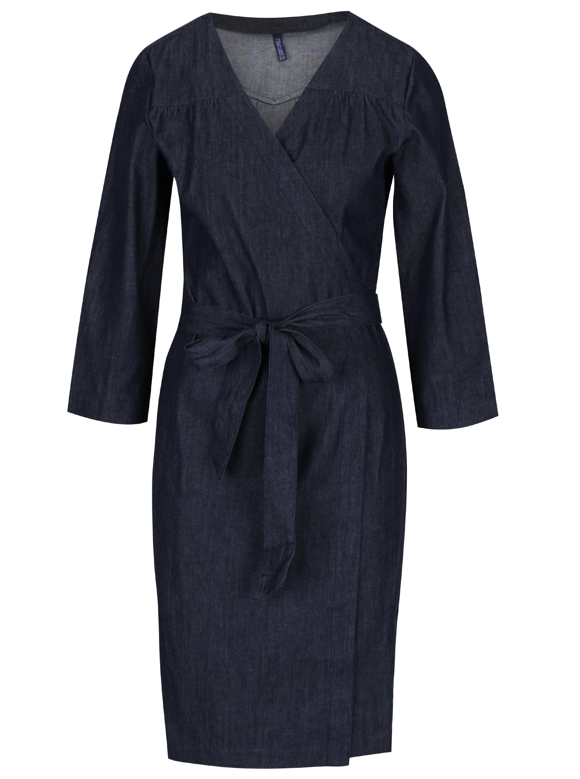 Tmavě modré žíhané džínové zavinovací šaty Tranquillo Nerea