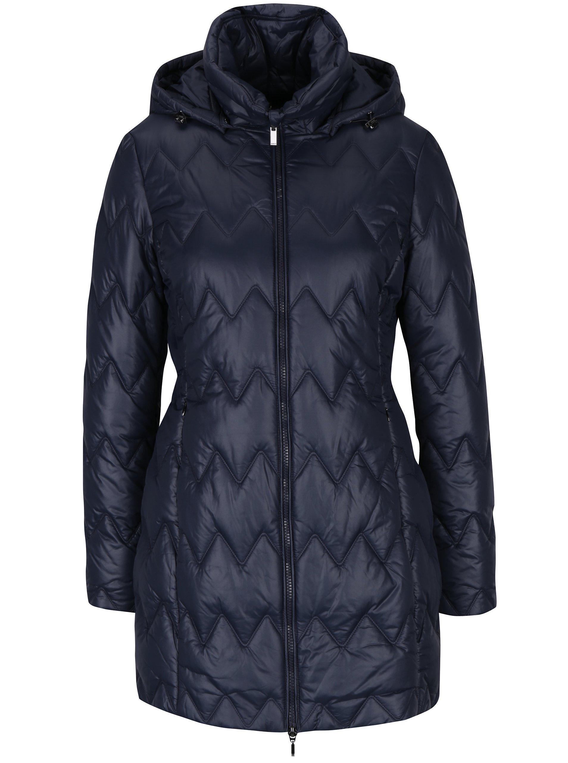 Tmavě modrý dámský prošívaný funkční kabát s kapucí Geox