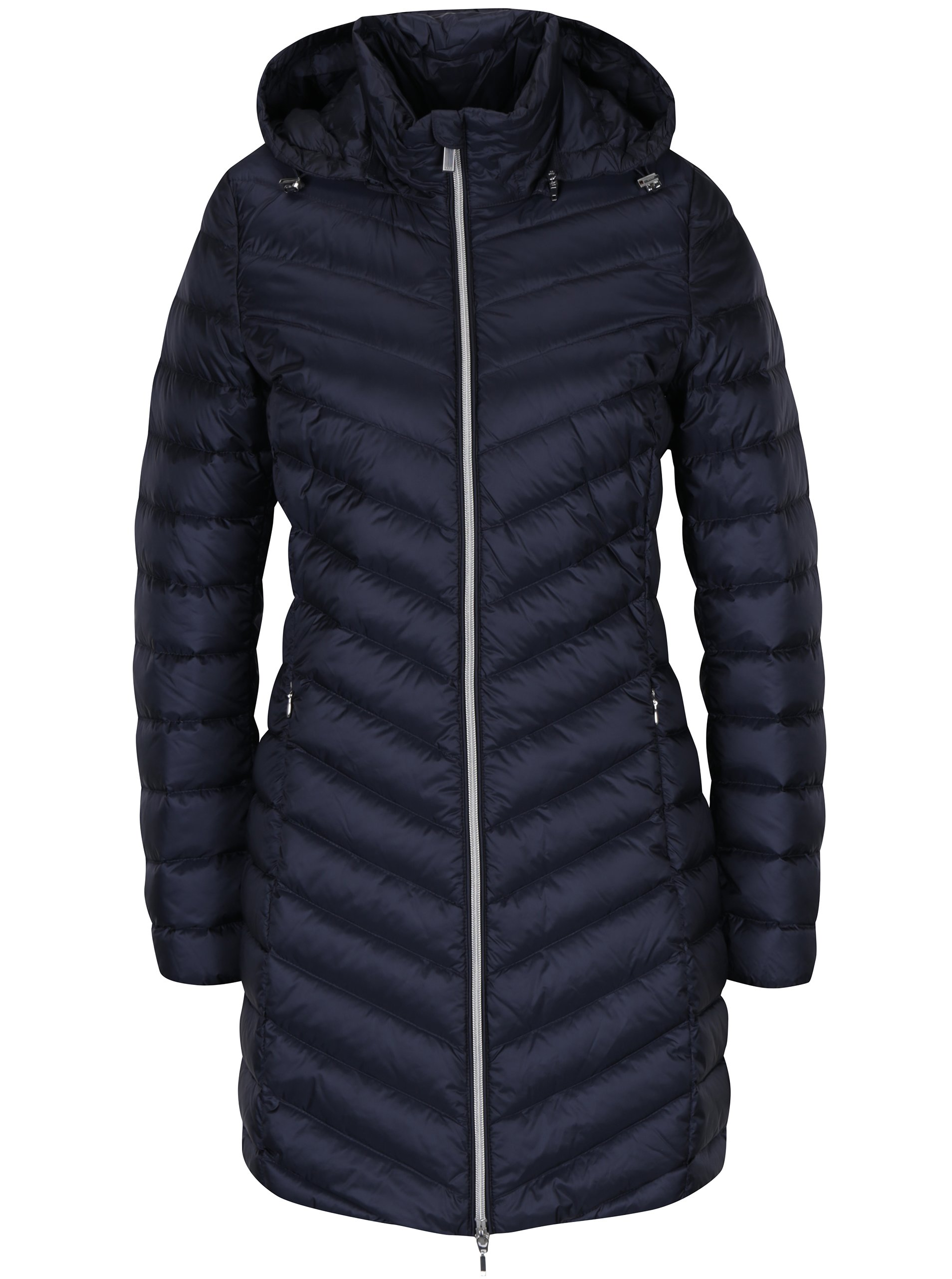Tmavě modrý dámský prošívaný funkční péřový kabát s kapucí Geox