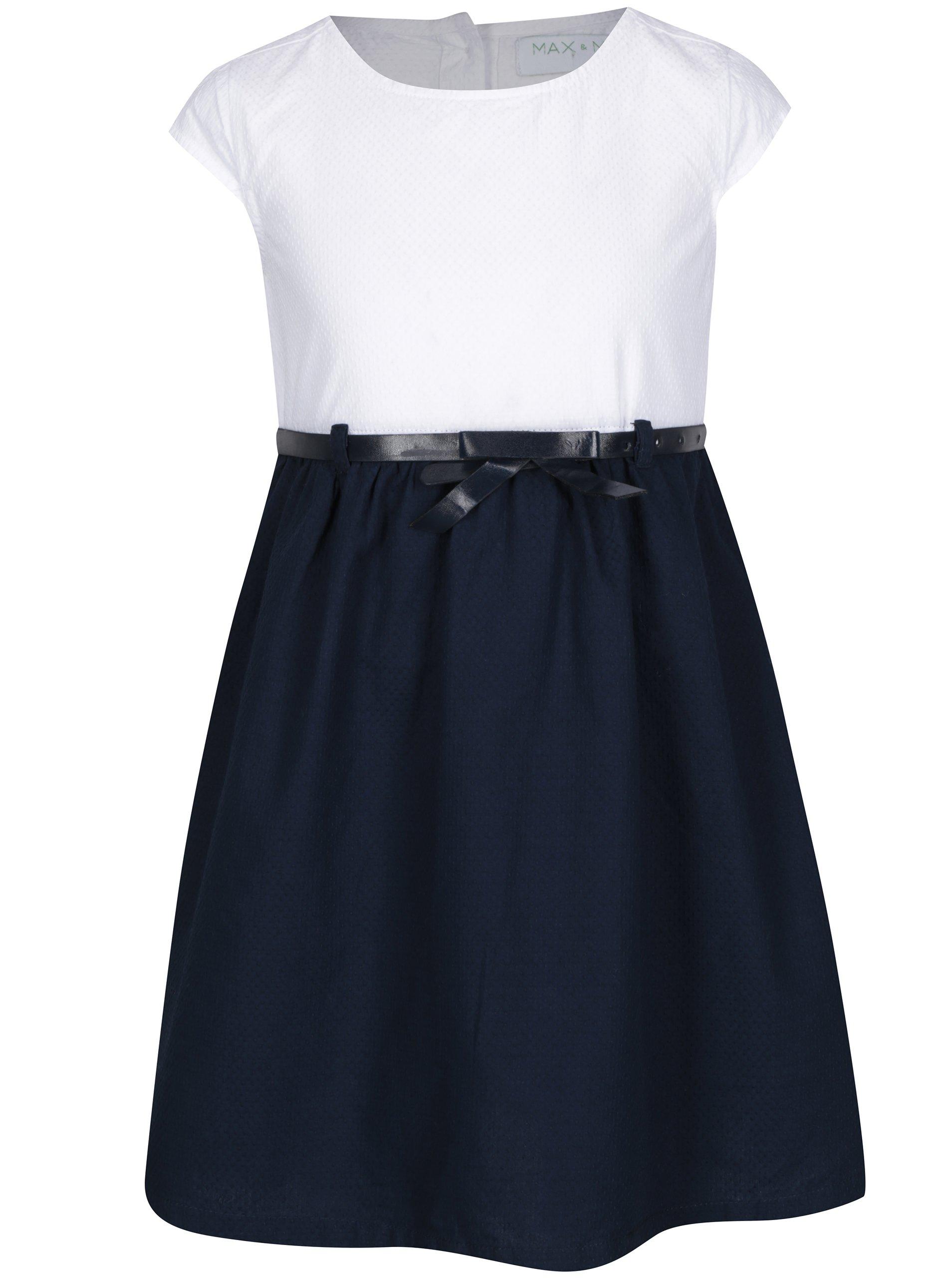 Bílo-modré holčičí šaty s páskem 5.10.15.