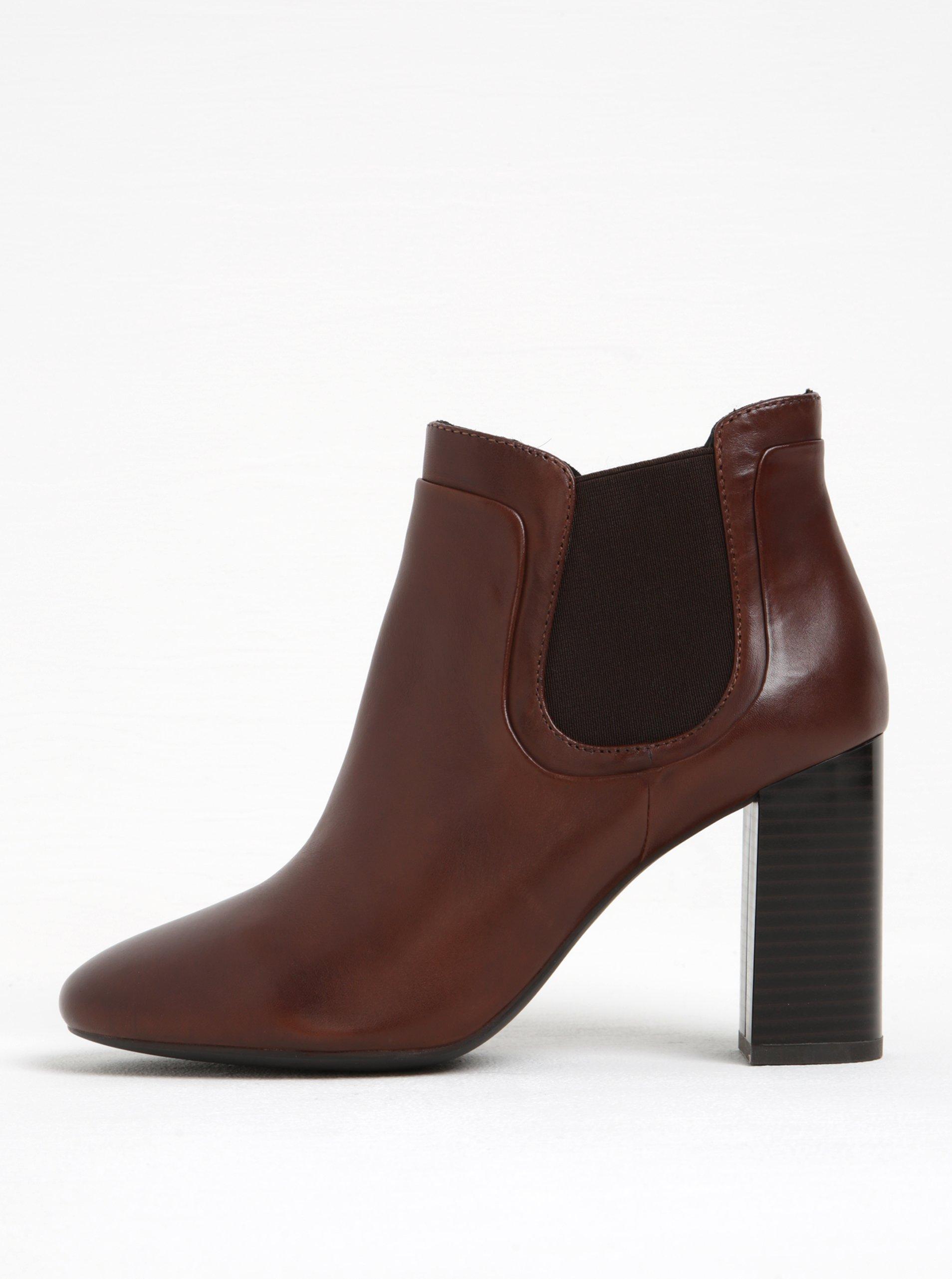 Hnědé dámské kožené chelsea boty na vysokém podpatku Geox Audalies
