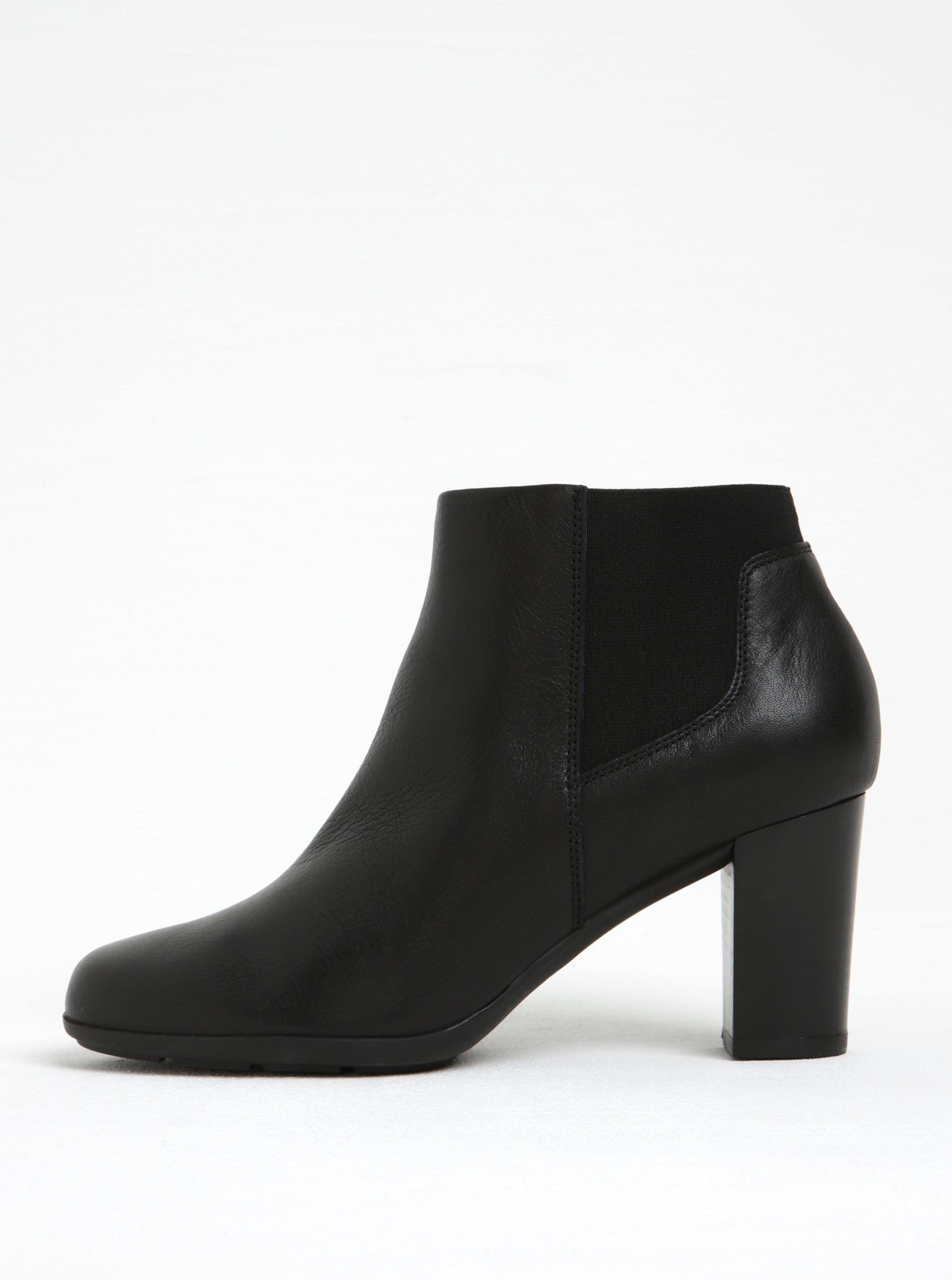 Černé dámské kožené chelsea boty na podpatku Geox Annya B