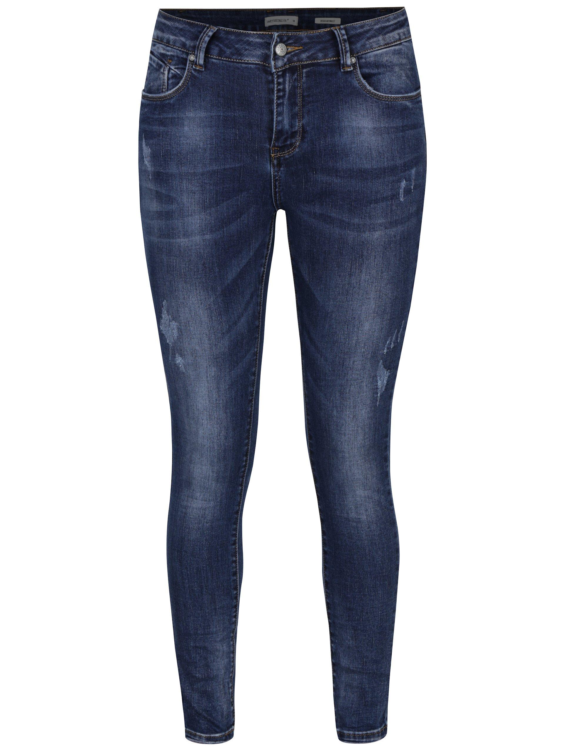 Modré regular džíny s vyšisovaným efektem Haily´s Letizia