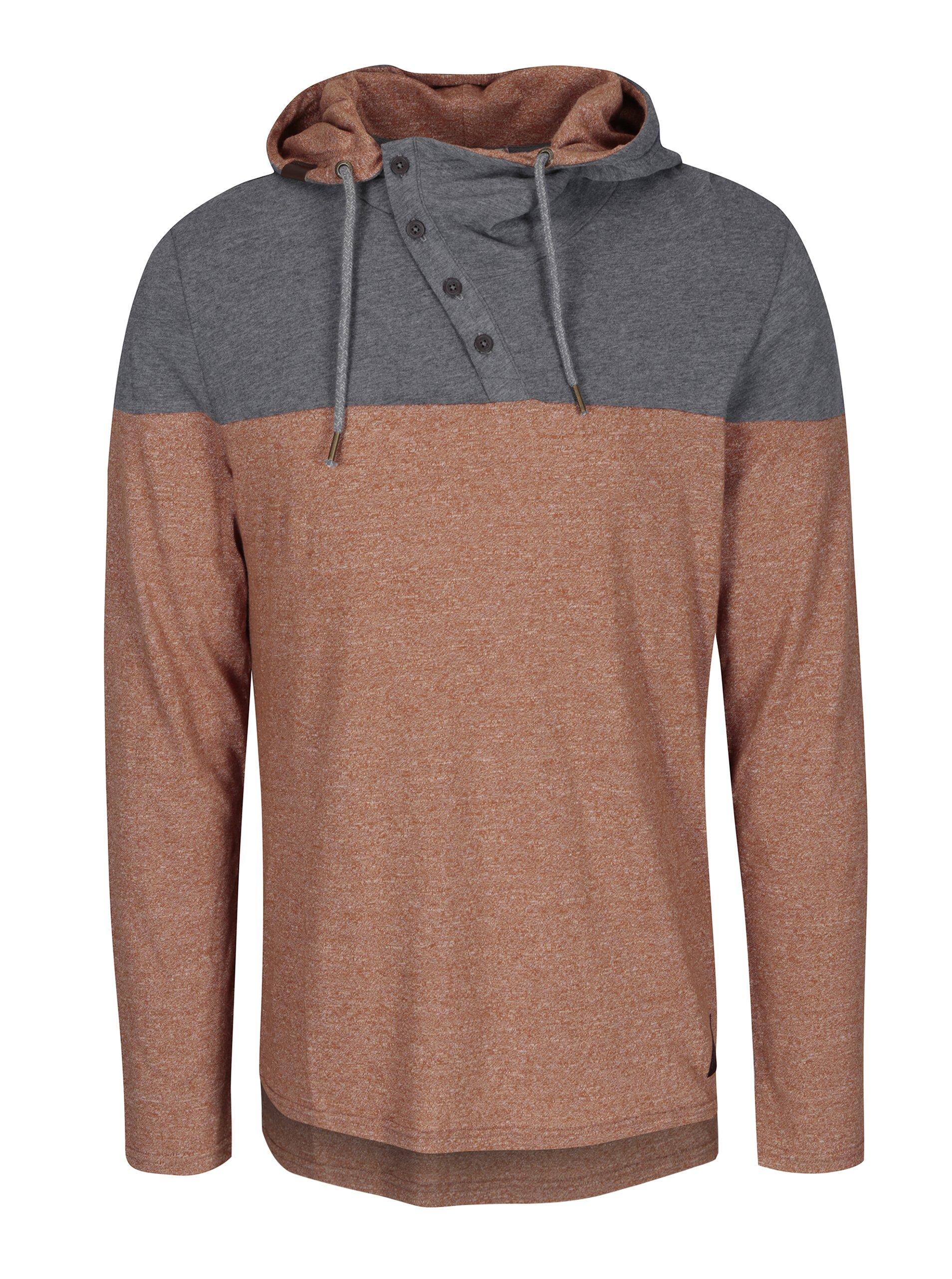 Šedo-hnědé pánské tričko s kapucí Ragwear Peanuts