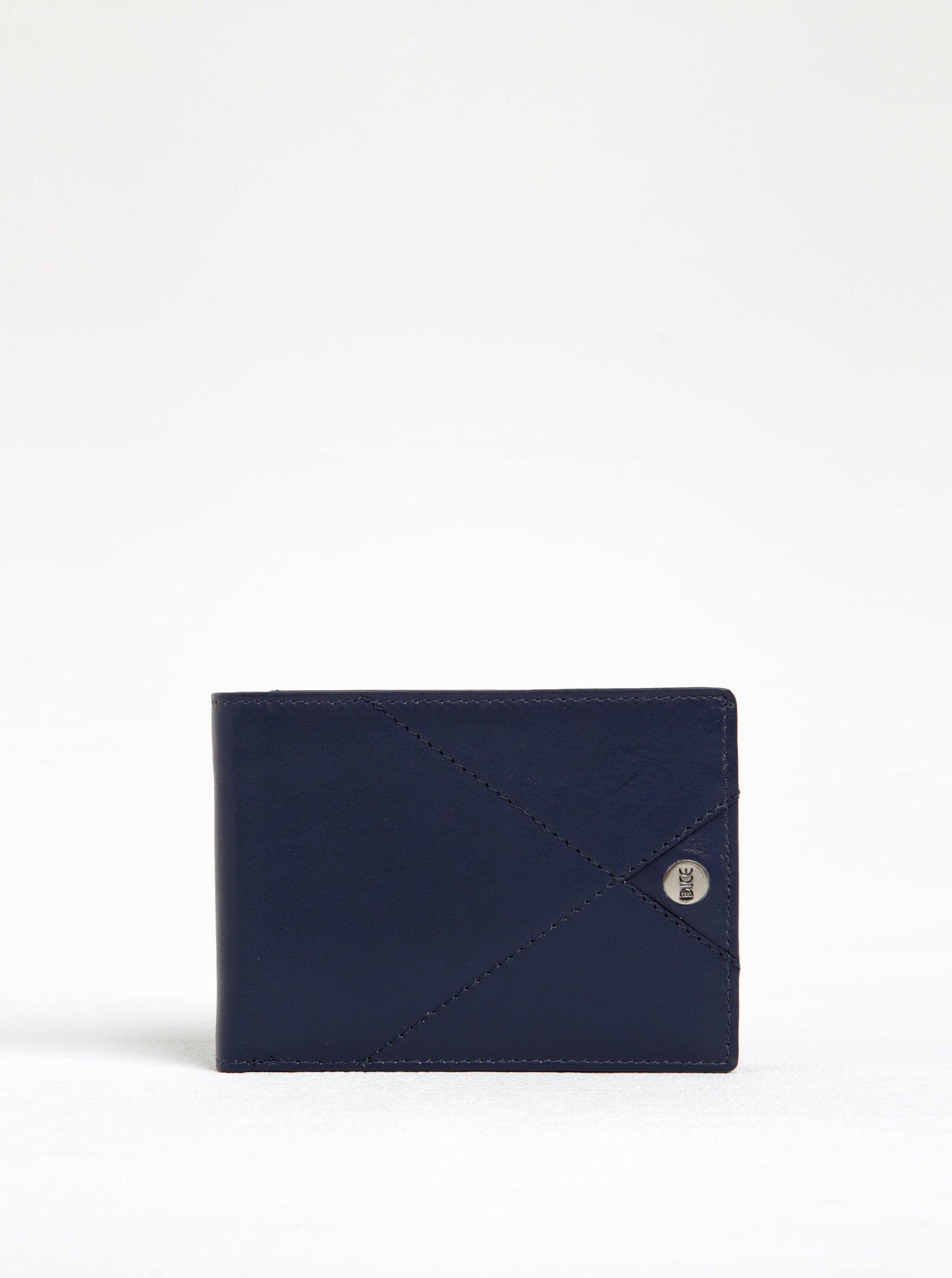 Tmavě modrá kožená peněženka s prošívanými detaily Dice Harper Range