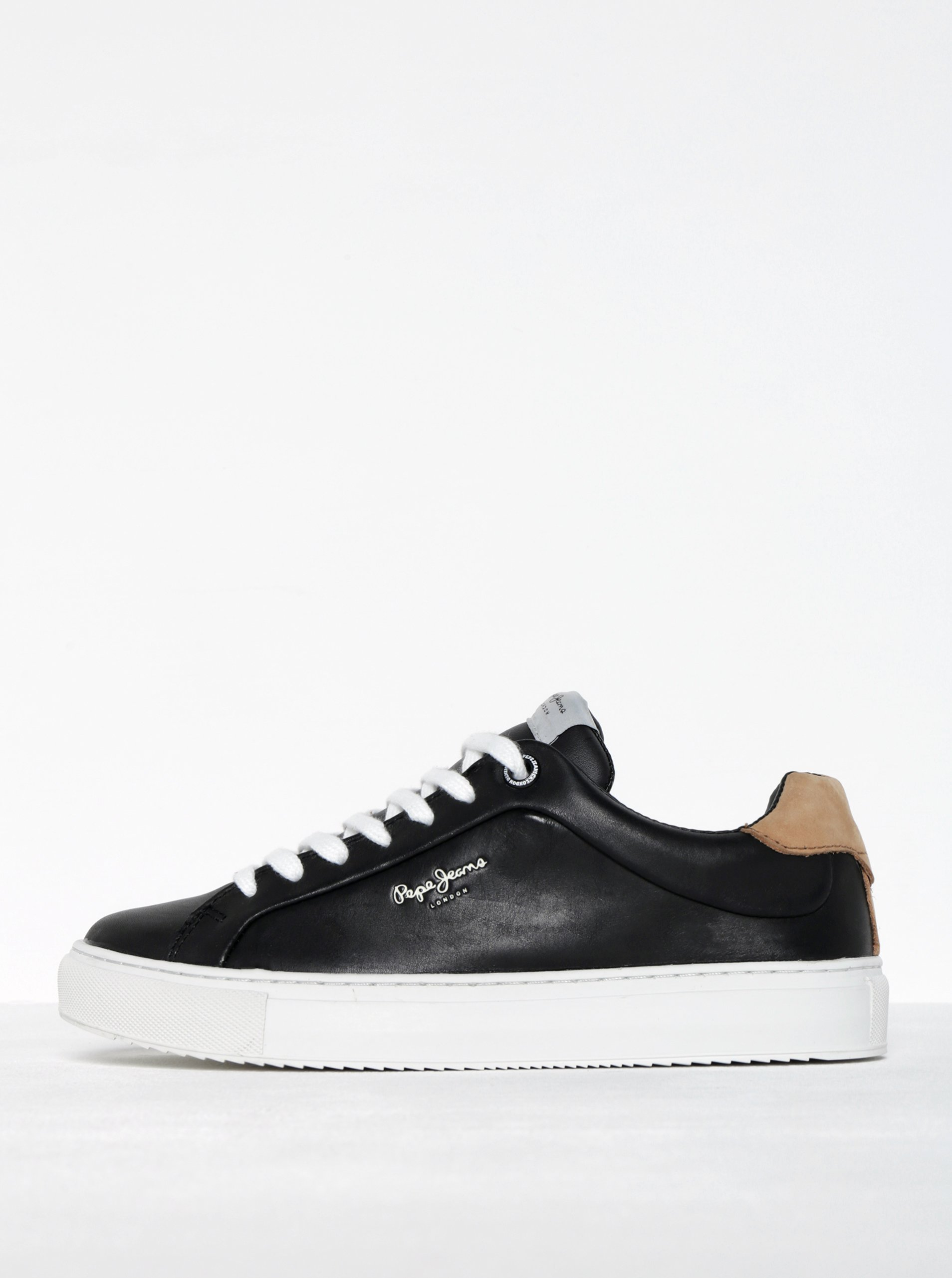 Černé dámské kožené tenisky Pepe Jeans Adams Dasic