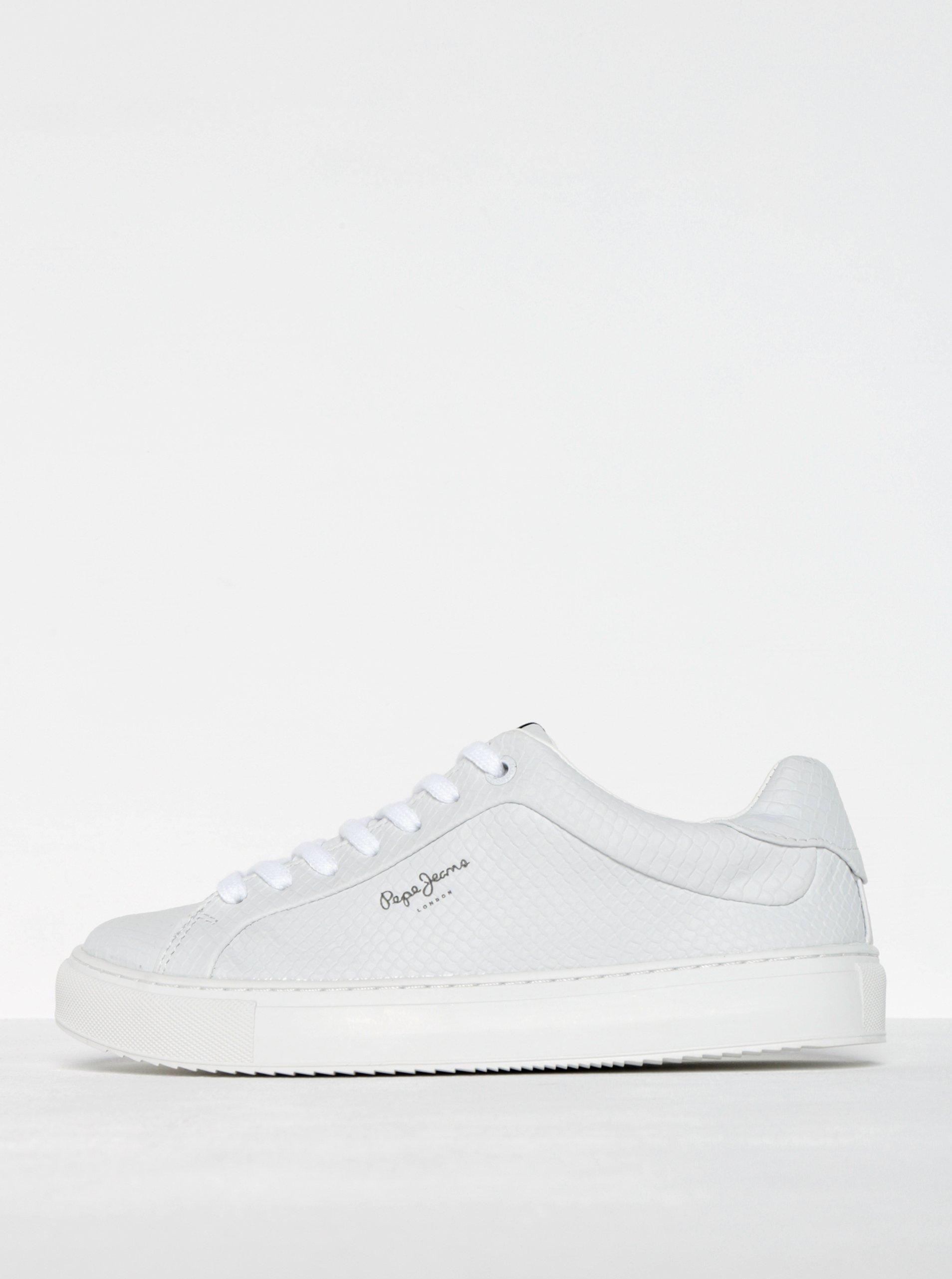 Bílé dámské tenisky se strukturovaným vzorem Pepe Jeans Adams Samy