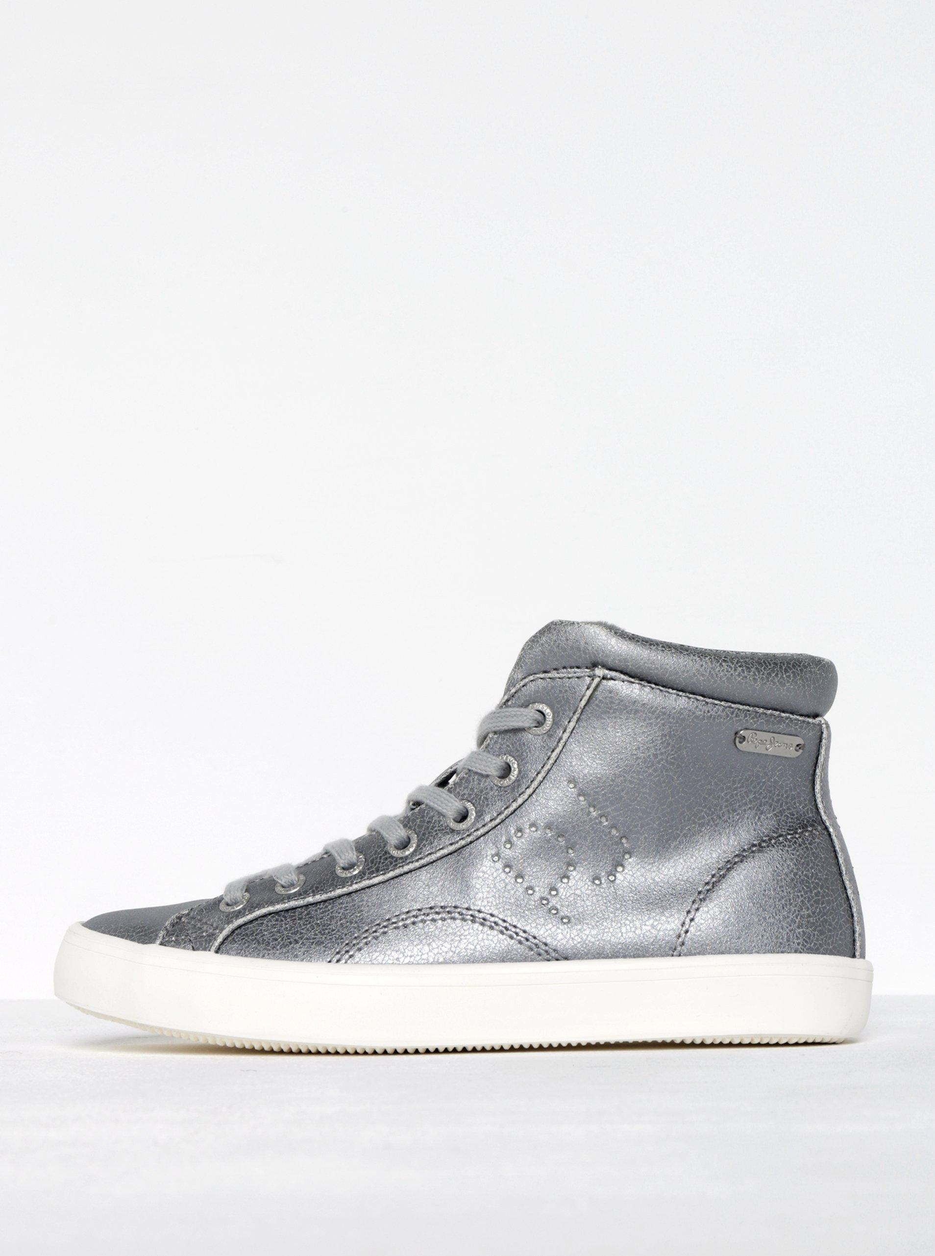 Dámské kotníkové tenisky ve stříbrné barvě Pepe Jeans Clinton Sally