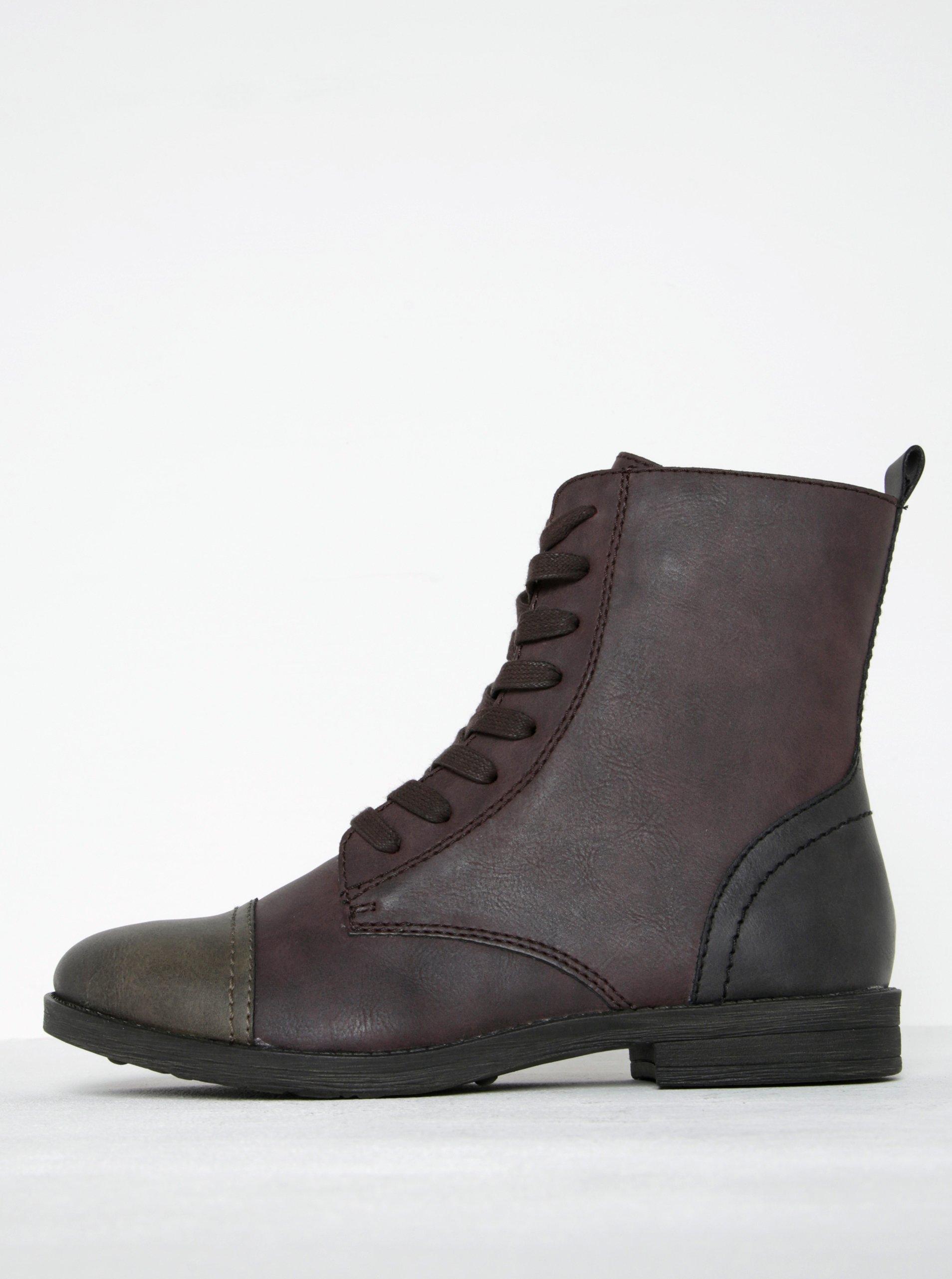 Vínové kotníkové boty s hnědou špičkou Tamaris