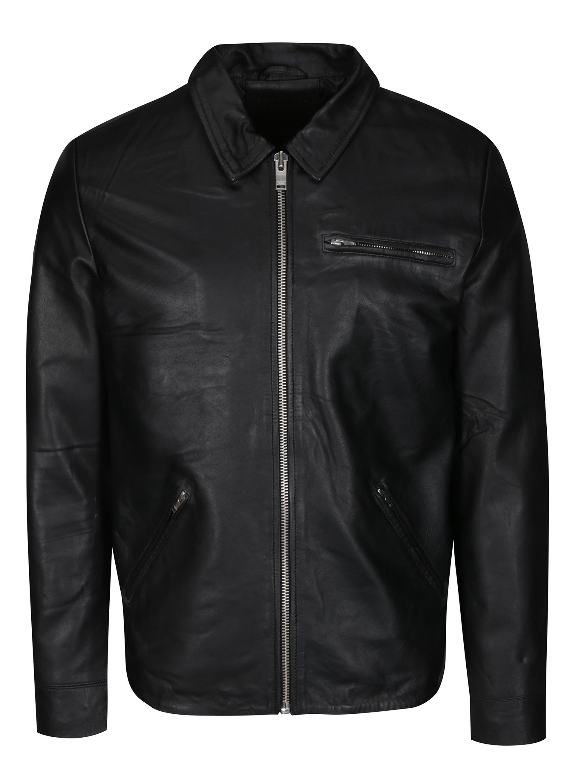 Černá kožená bunda Selected Homme Max Classic