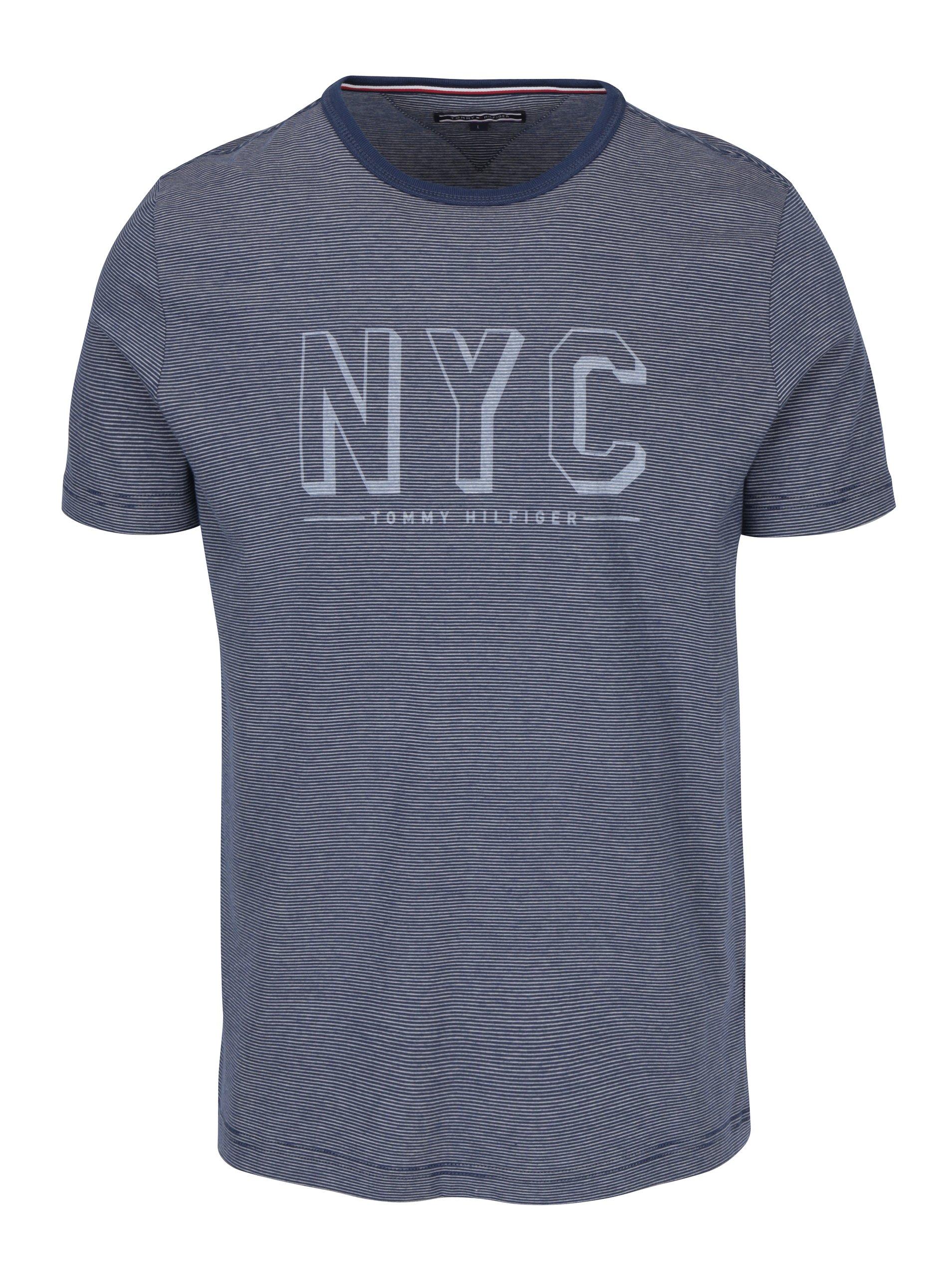 Modré pánské pruhované tričko Tommy Hilfiger Stan