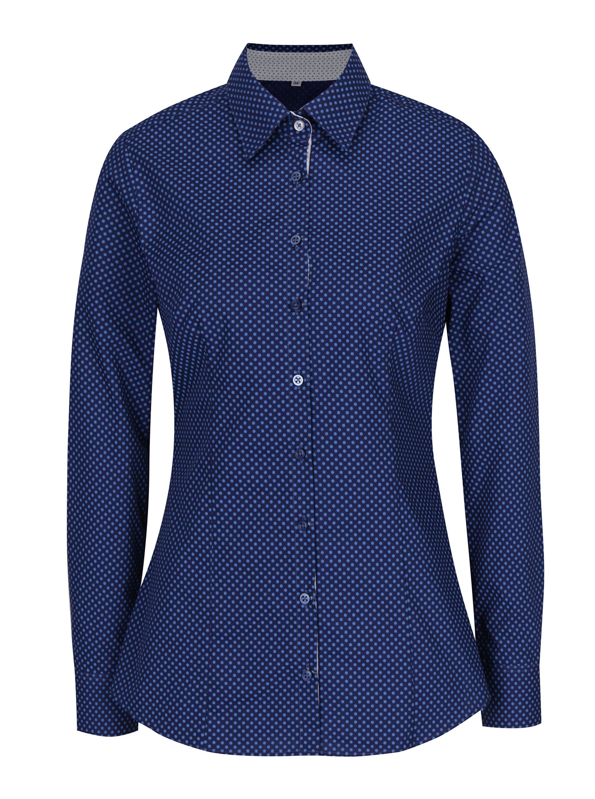 Tmavě modrá dámská puntíkovaná košile VAVI
