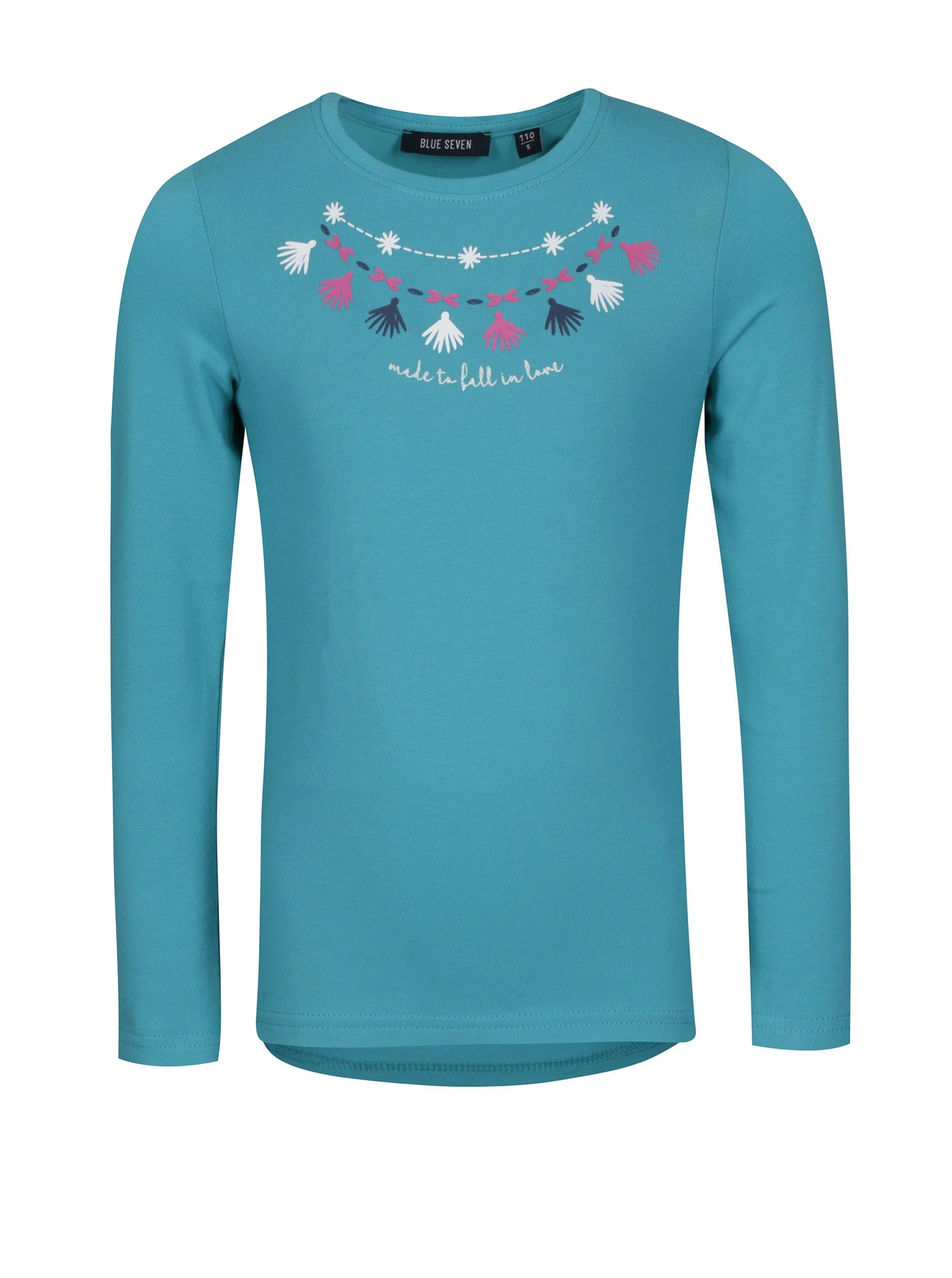 Tyrkysové holčičí tričko s potiskem a dlouhým rukávem Blue Seven