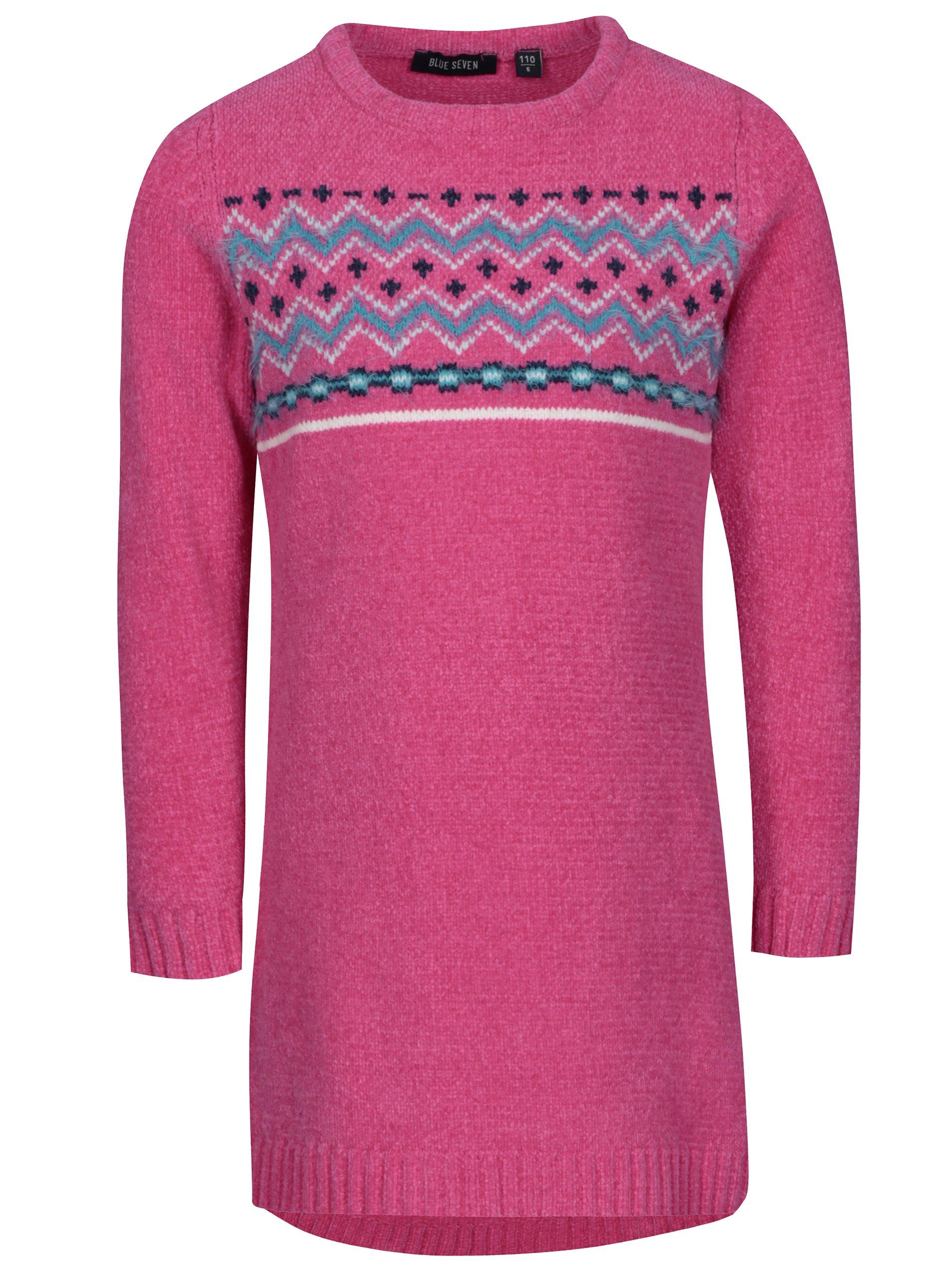 Růžové holčičí svetrové šaty se vzorem Blue Seven