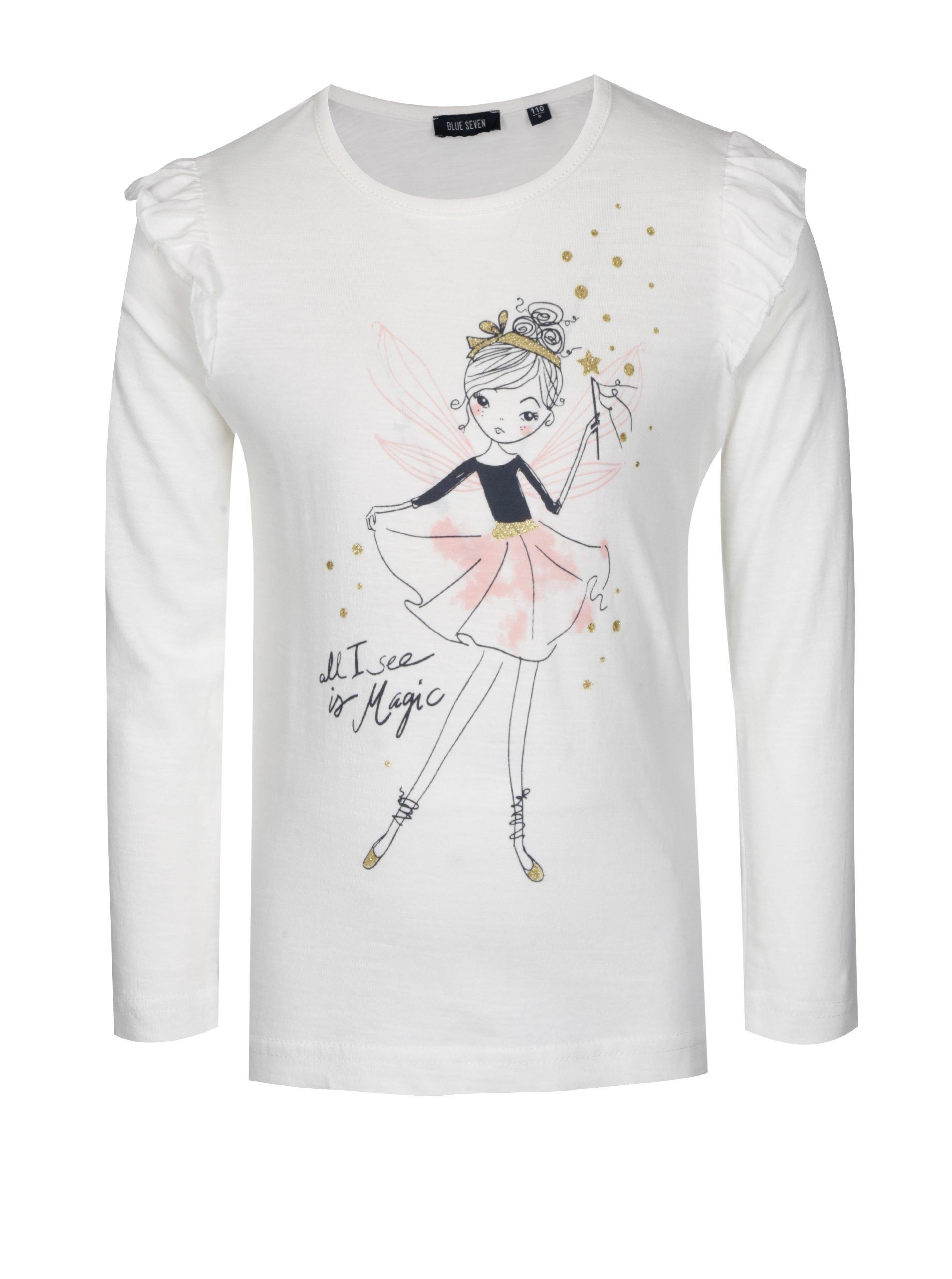 Krémové dievčenské tričko s volánikmi a potlačou Blue Seven