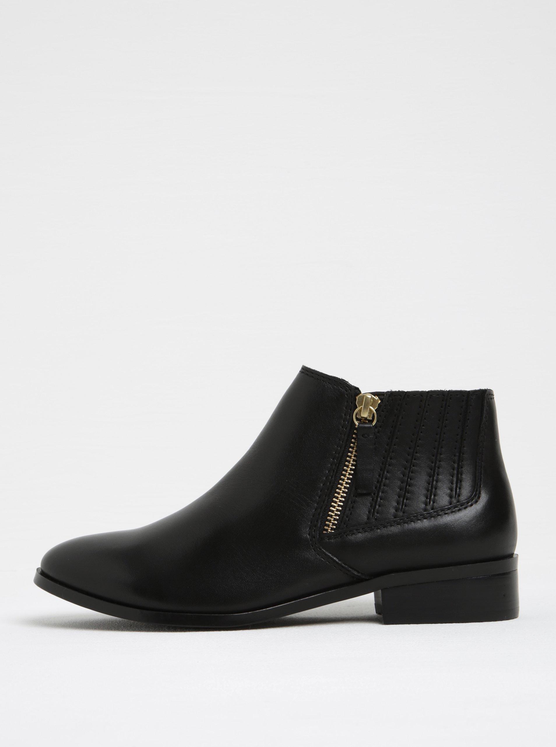 Černé dámské kožené kotníkové boty se zipem ve zlaté barvě ALDO Taliyah