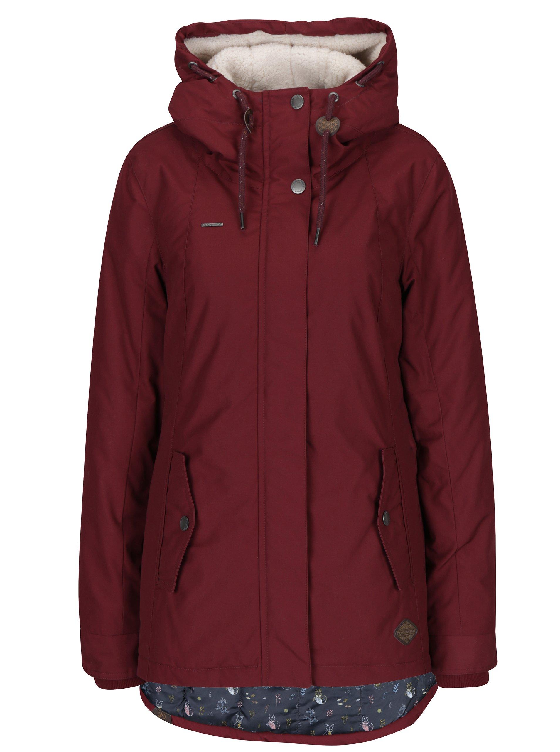 Vínová dámská bunda s kapucí s umělým kožíškem Ragwear Monade