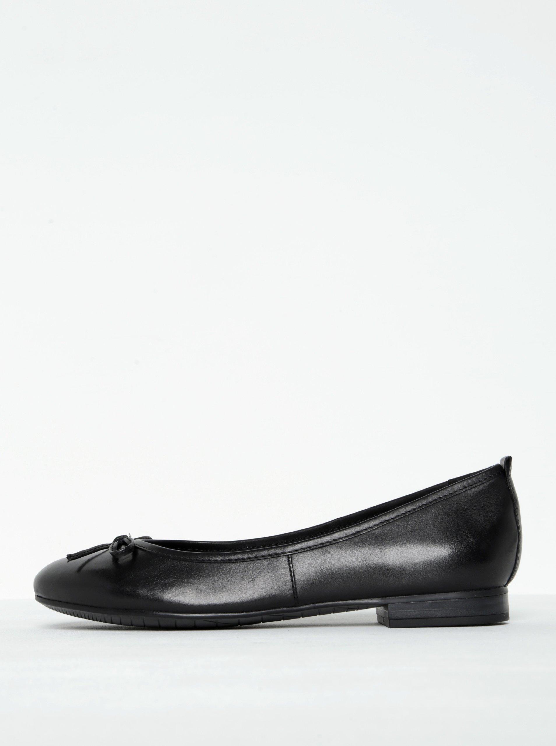 Černé kožené baleríny s mašličkou Tamaris