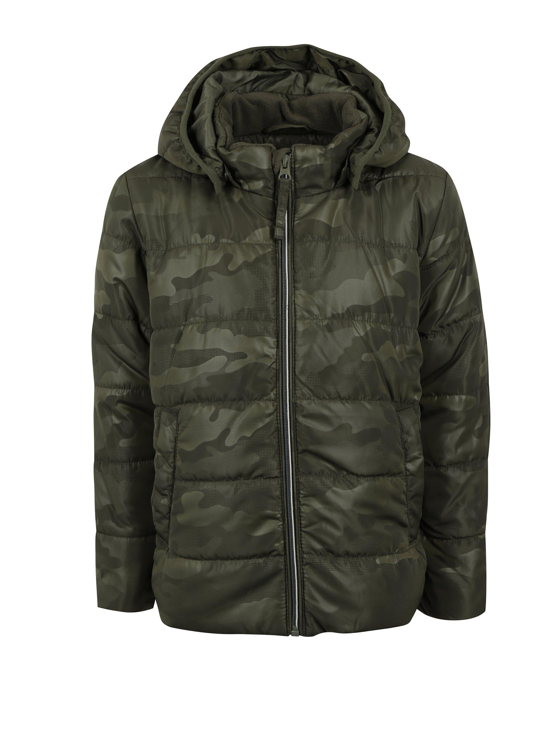 Khaki klučičí vzorovaná bunda s kapucí name it Mit