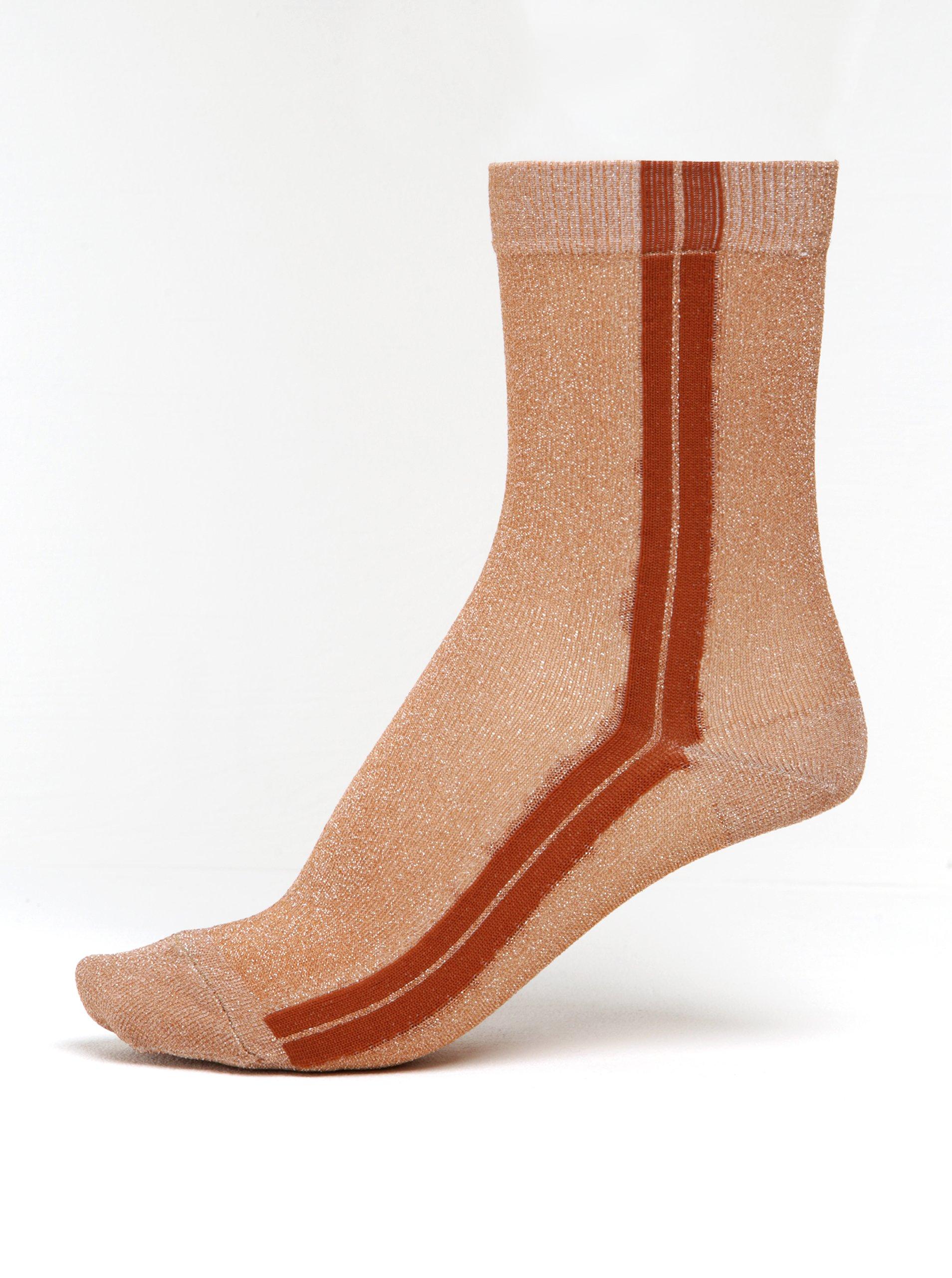 Hnědé dámské třpytivé ponožky s pruhy mp Denmark Viola
