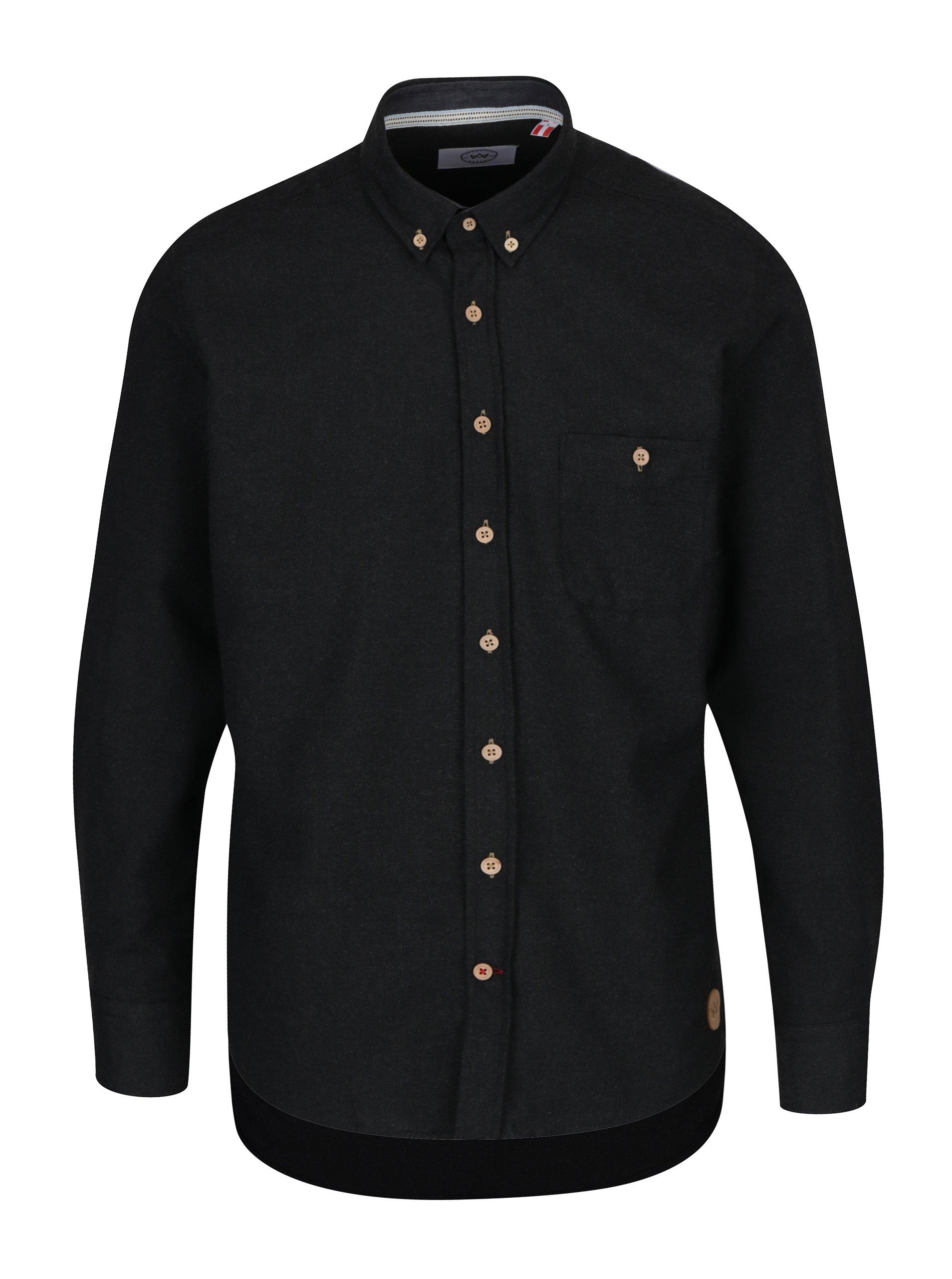 Černá žíhaná košile Kronstadt Dean
