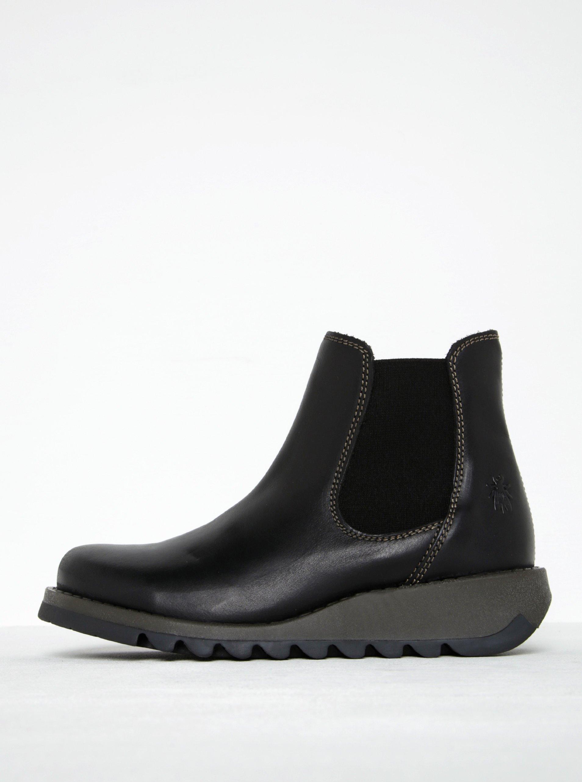 Černé dámské kožené chelsea boty FLY London