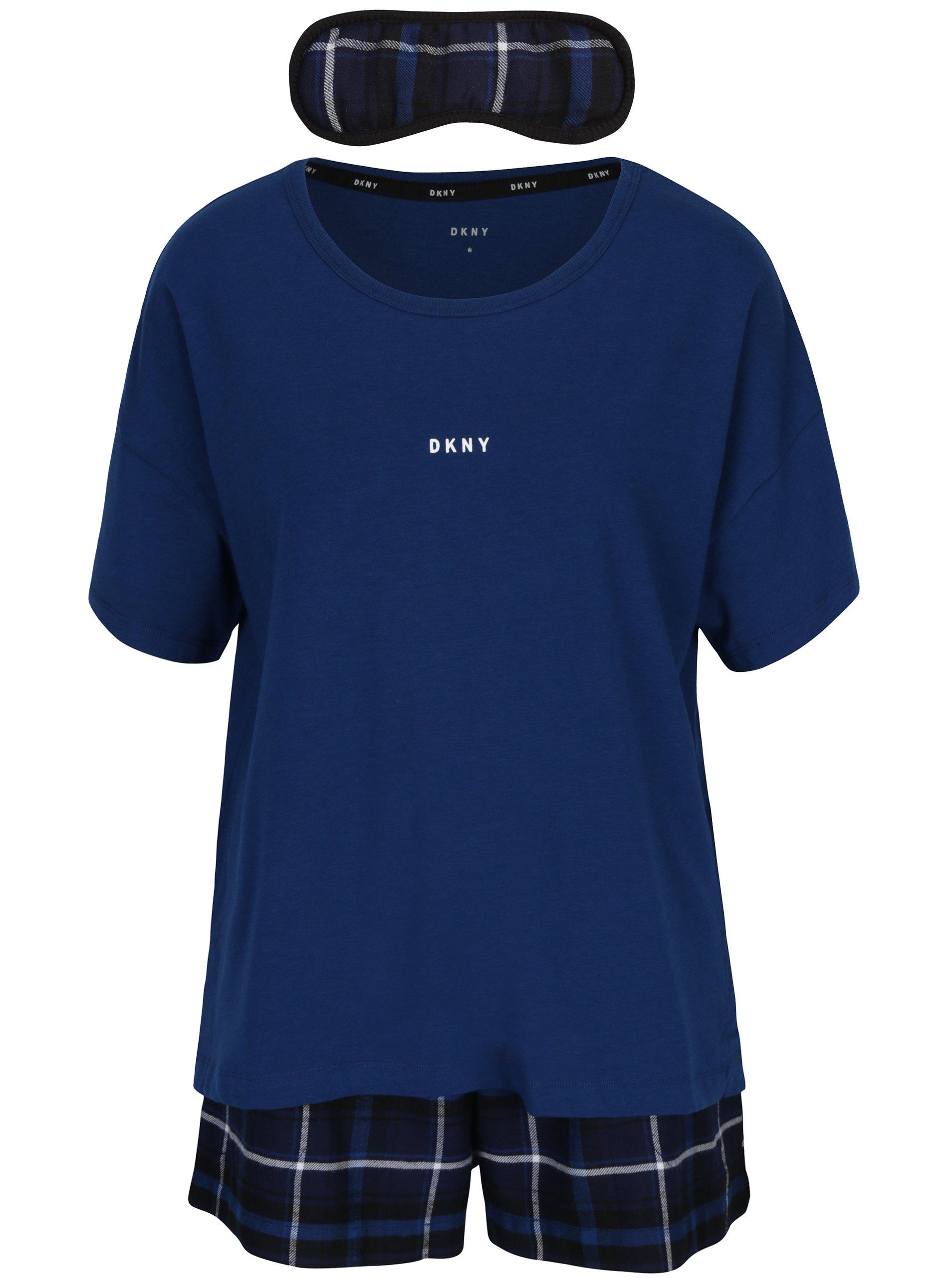 Tmavě modrý dárkový set pyžama a masky na spaní DKNY