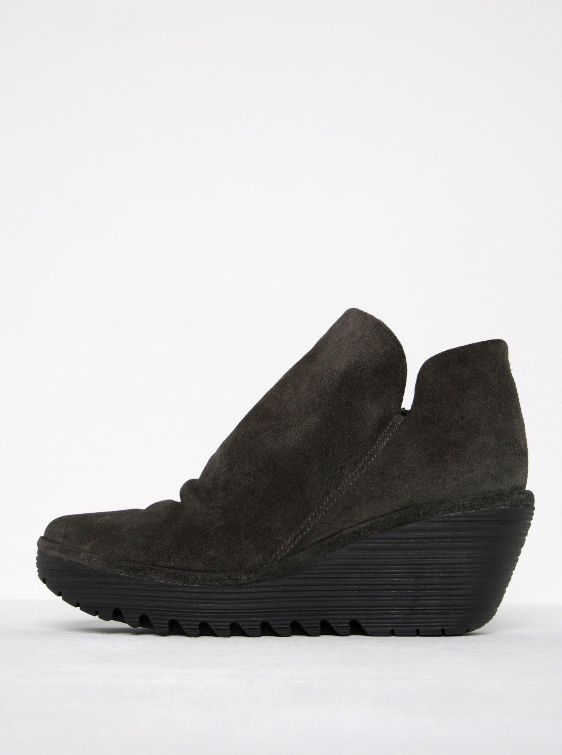 Tmavě šedé dámské semišové kotníkové boty na platformě FLY London