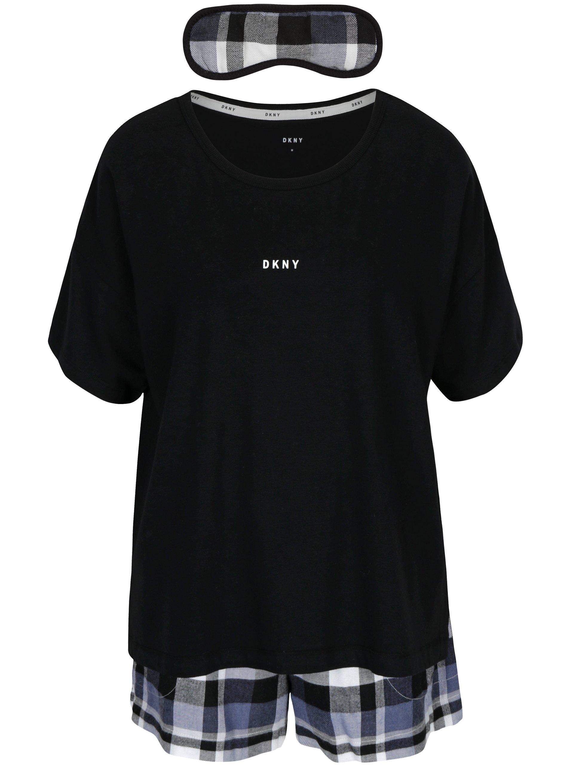 černý dárkový set pyžama a masky na spaní DKNY