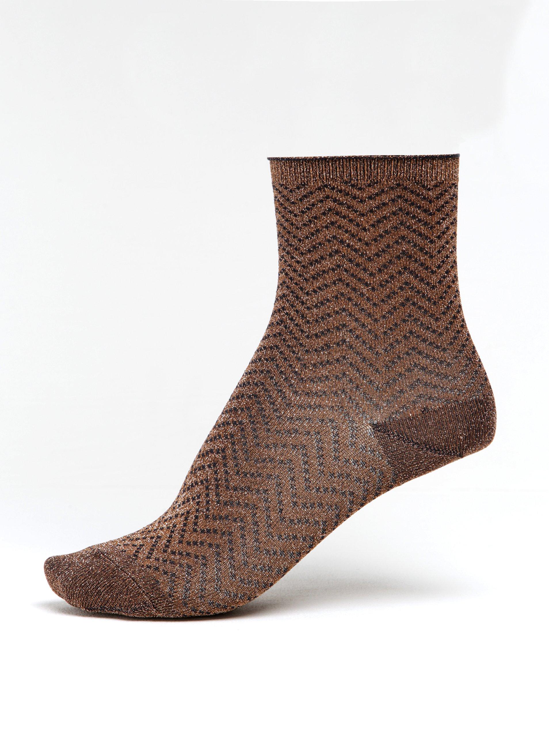 Hnědé dámské třpytivé vzorované ponožky mp Denmark Yao