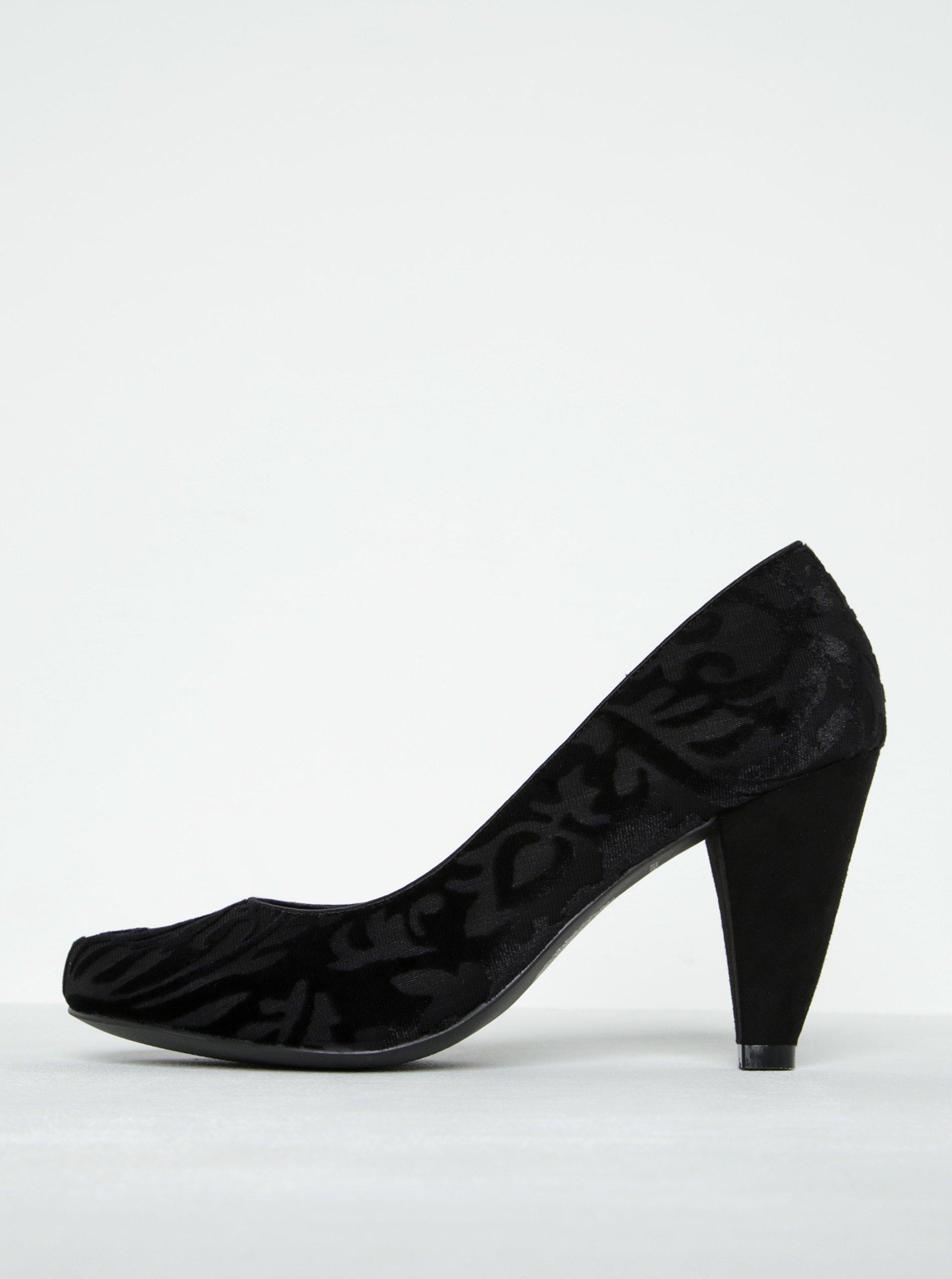 Černé lodičky se sametovým vzorem Ruby Shoo Leah