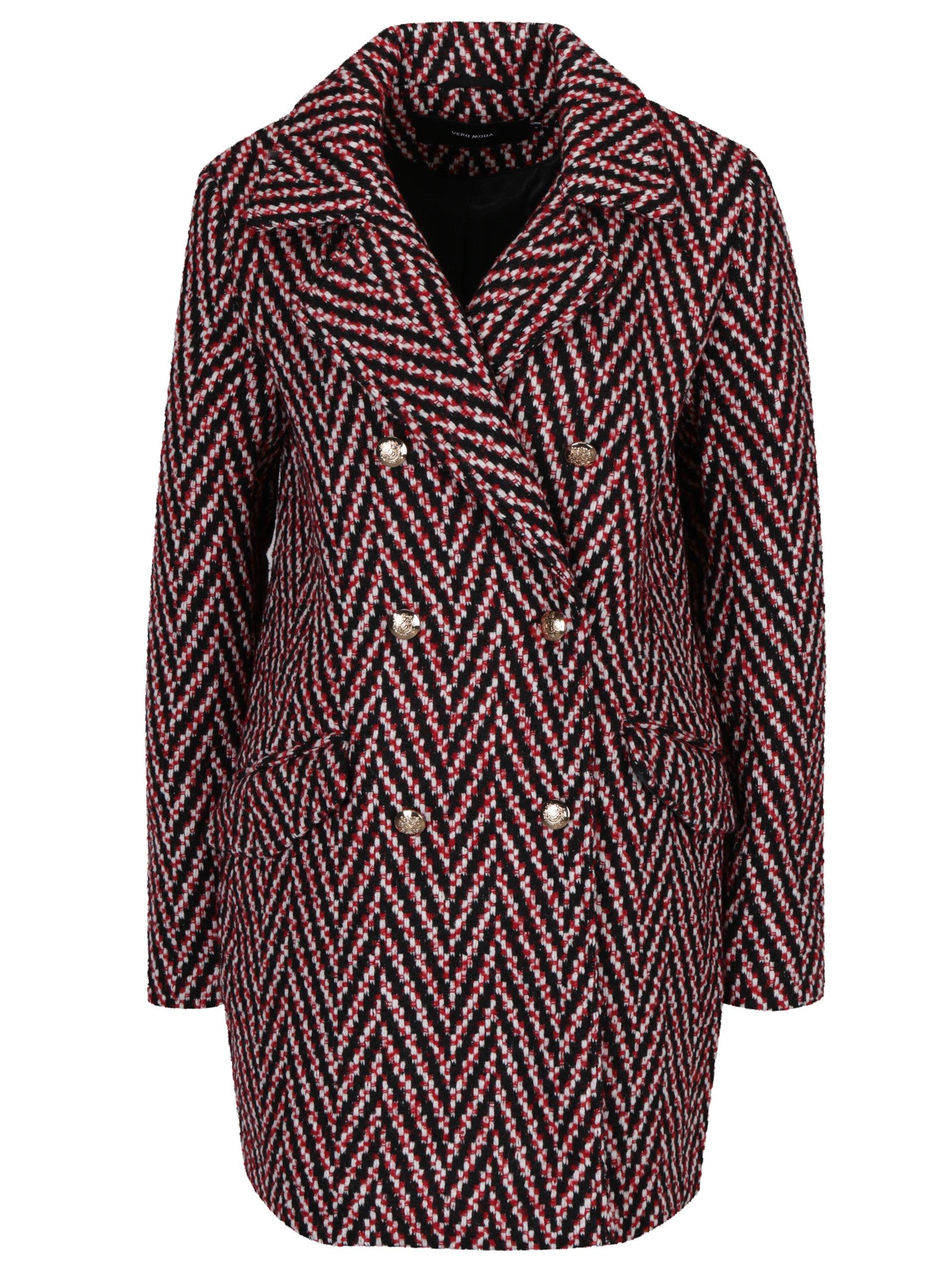 ec23278ab4 Červený vzorovaný kabát VERO MODA Paris