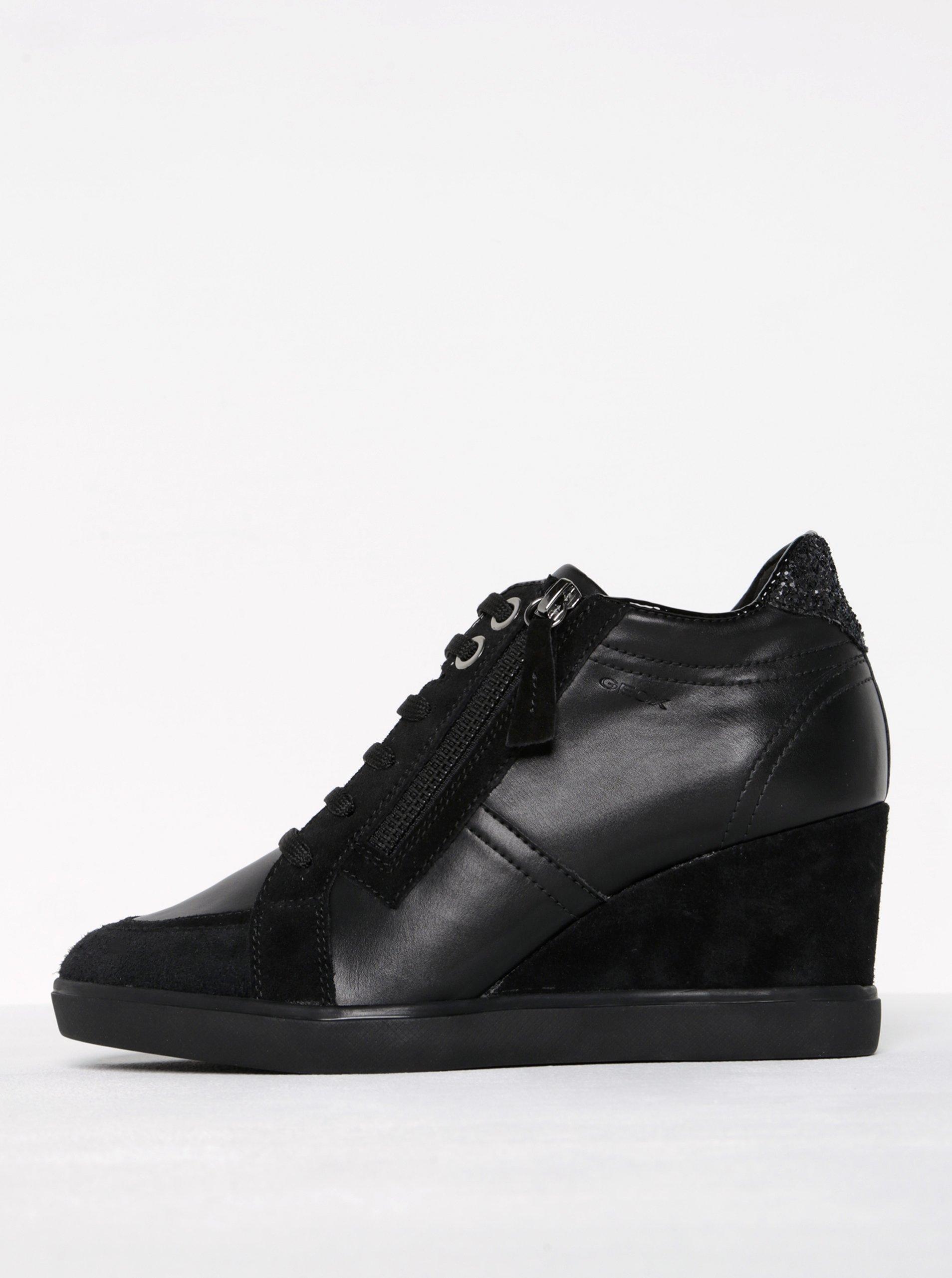 Čierne dámske tenisky na platforme s koženými detailmi Geox Eleni