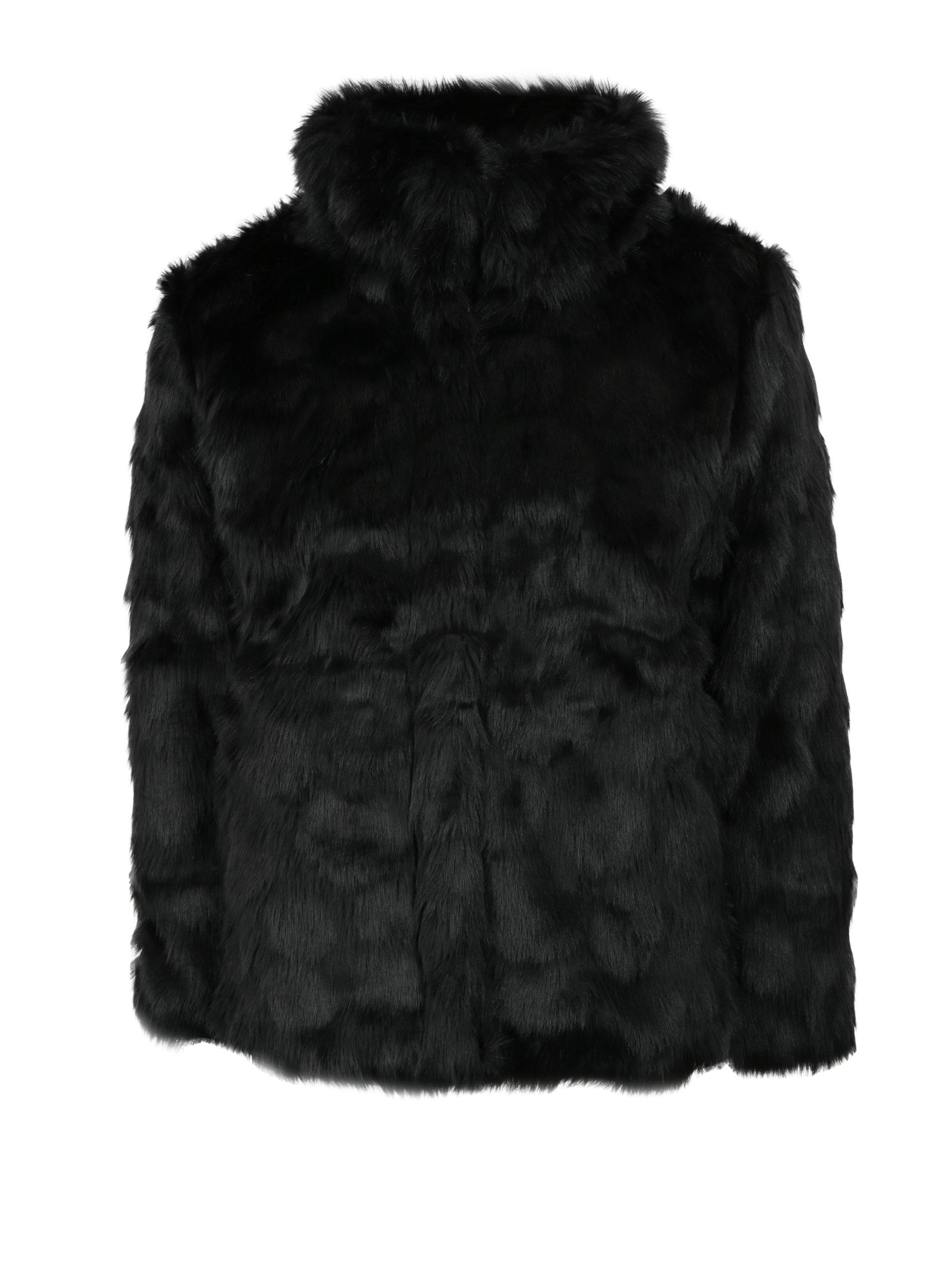 Čierny dievčenský kabát z umelej kožušiny name it Melisa