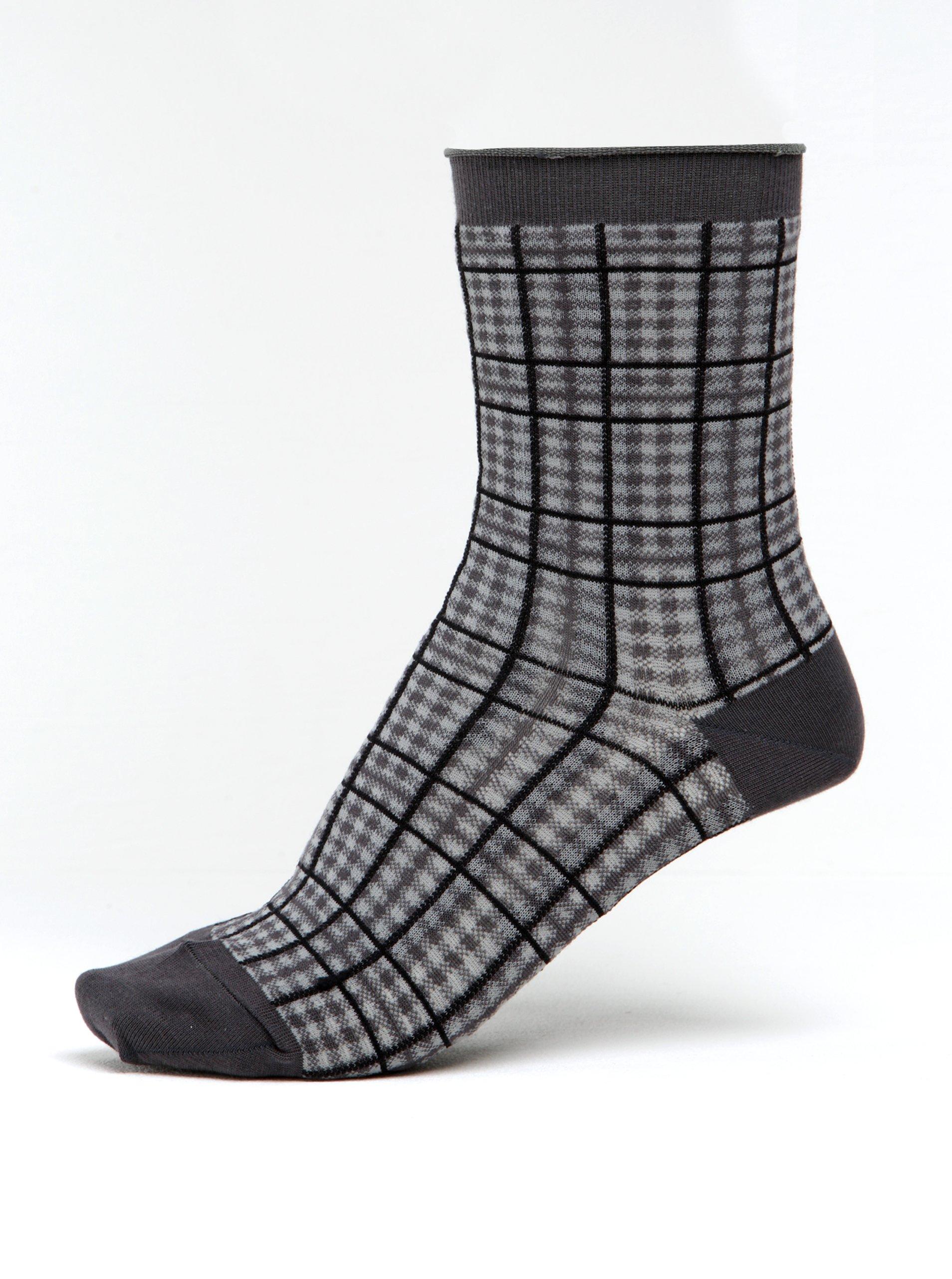 Šedé dámské kostkované ponožky mp Denmark Julia