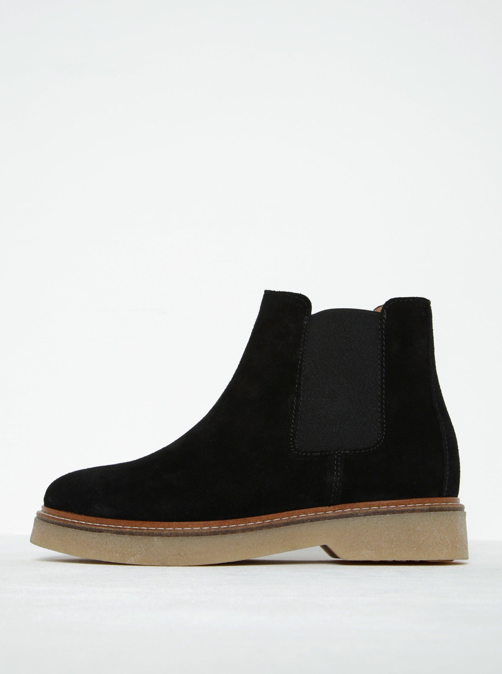 Černé semišové chelsea boty Pieces Pamelin