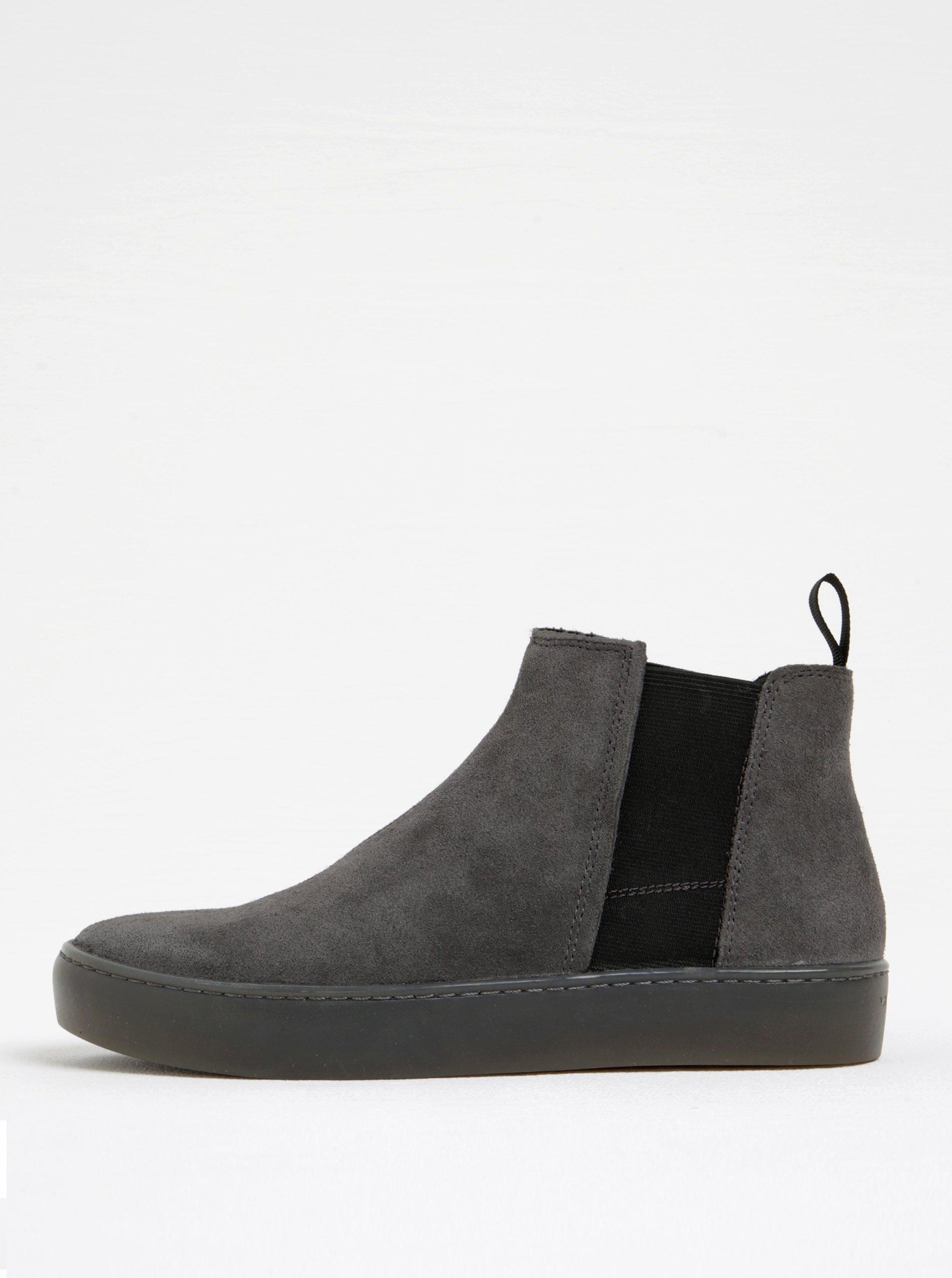 Šedé dámské semišové chelsea boty na platformě Vagabond Zoe