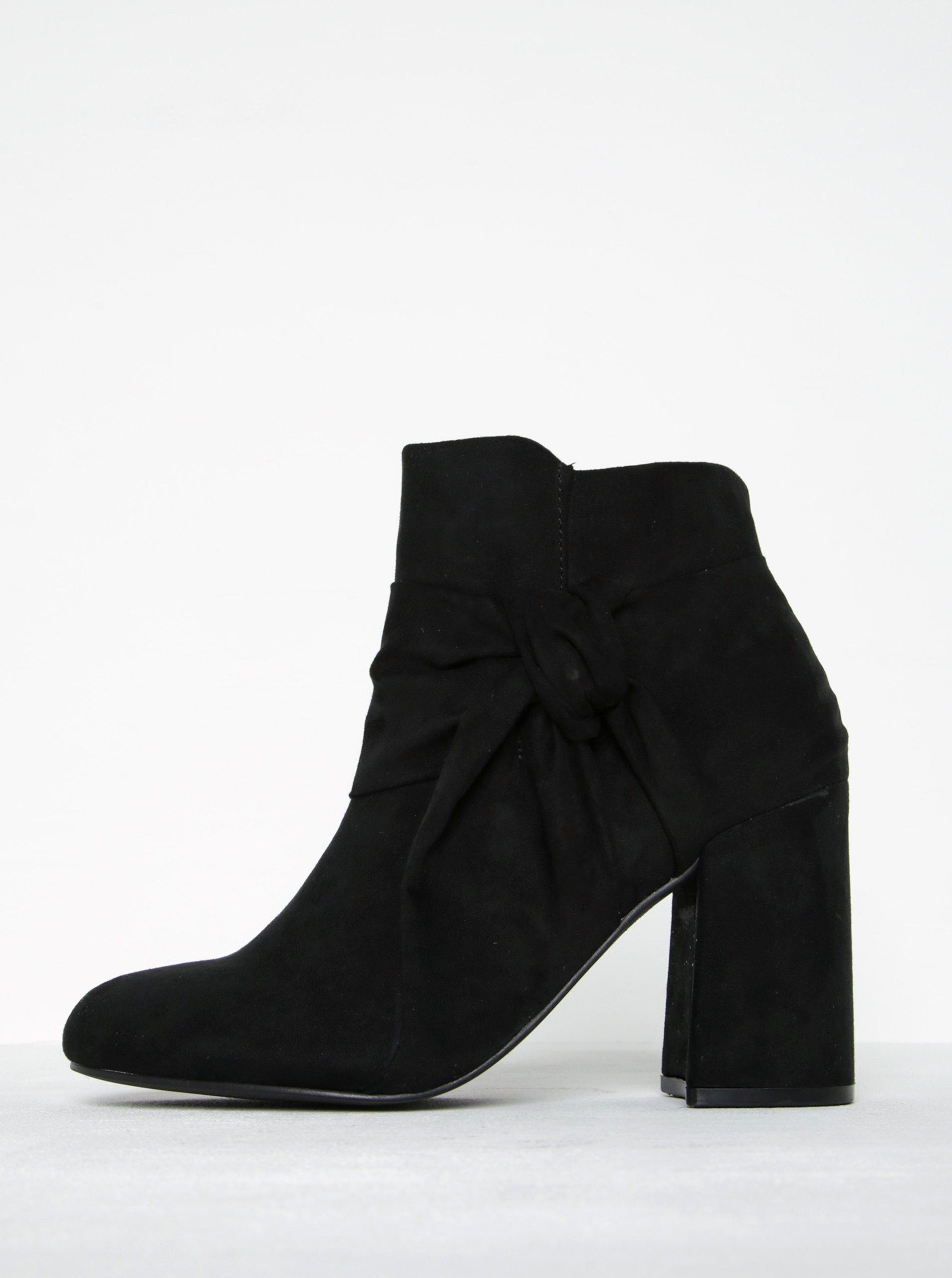 Černé kotníkové boty v semišové úpravě na podpatku Dorothy Perkins