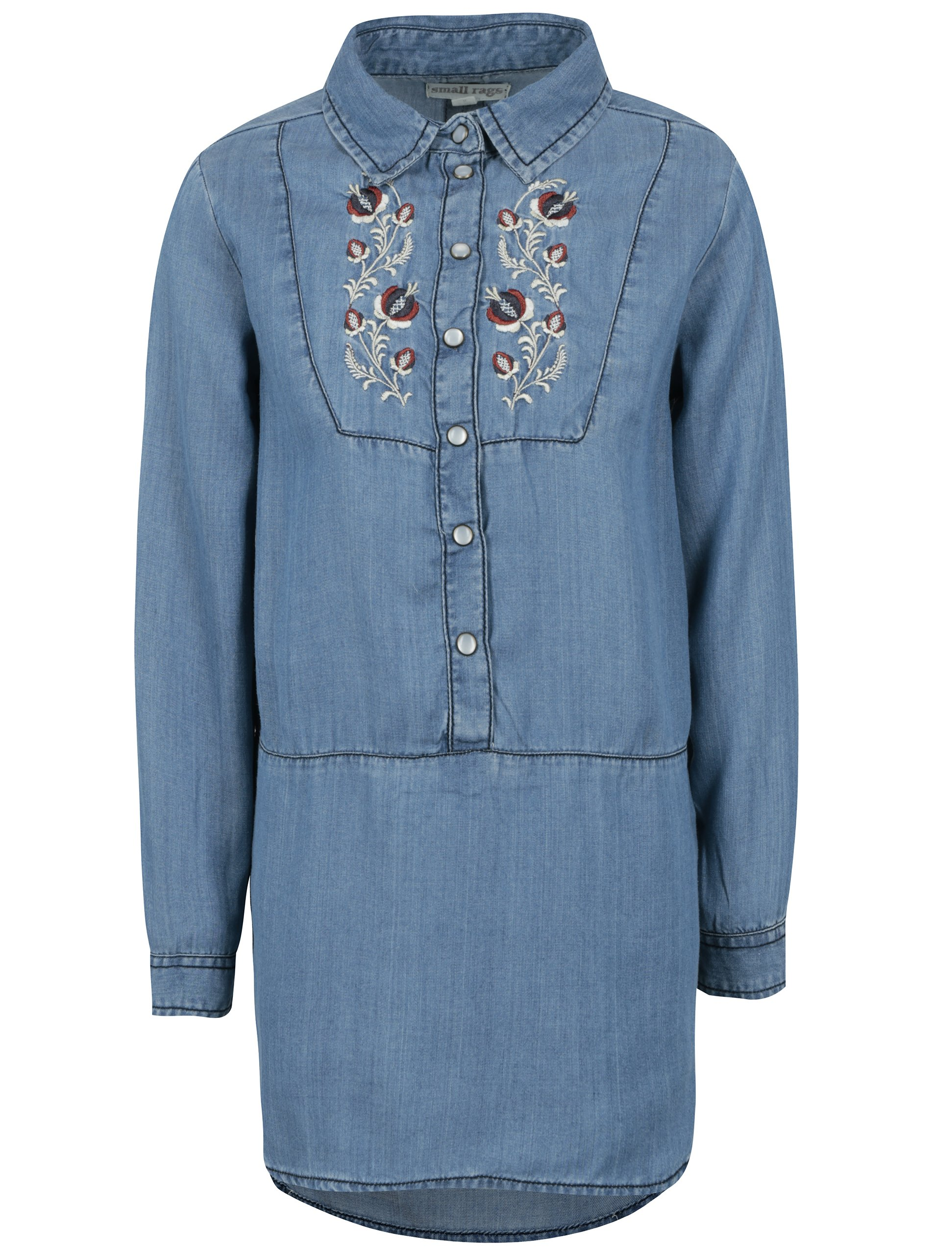 Modrá holčičí dlouhá džínová košile s výšivkou small rags Freya