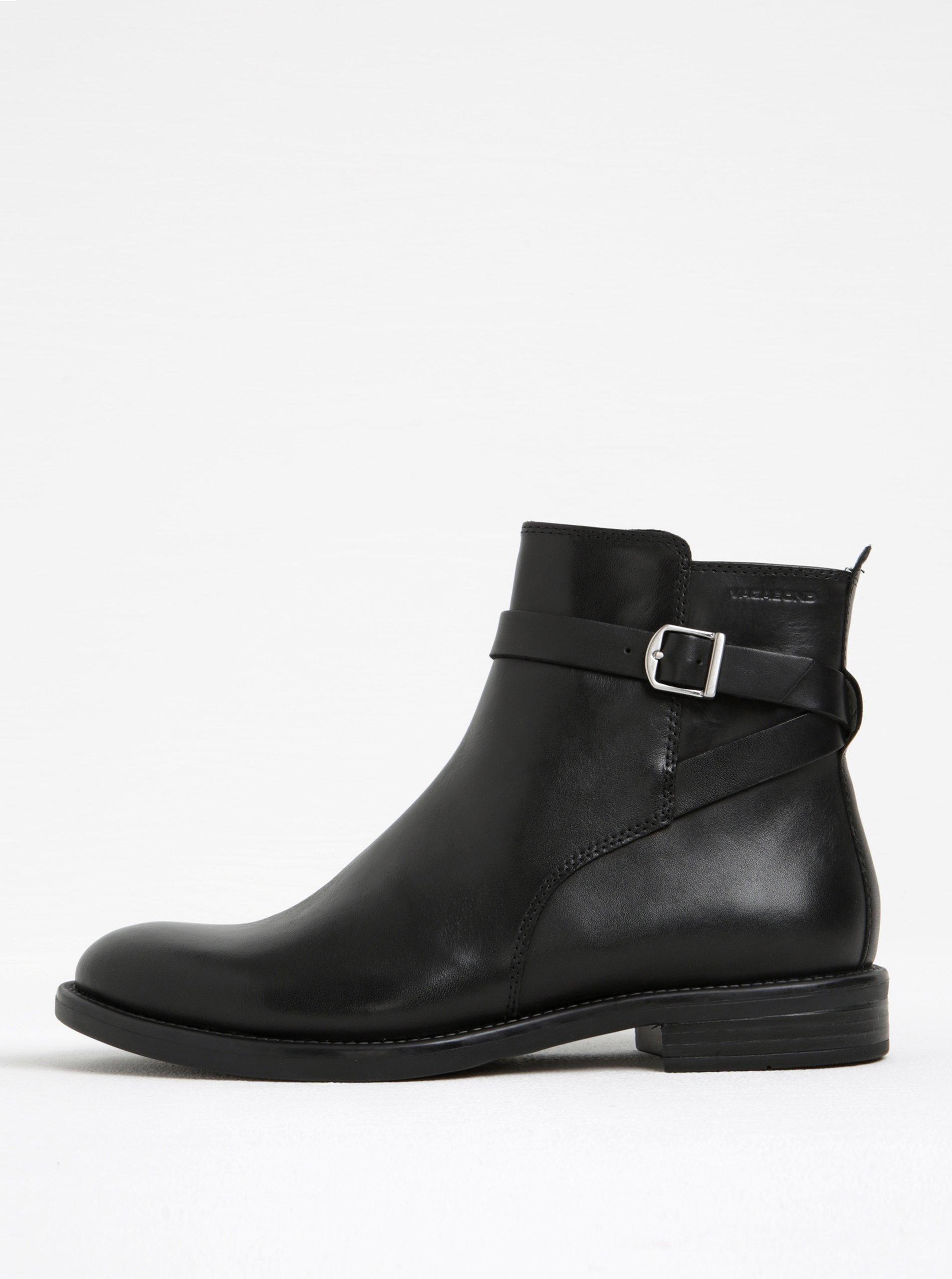 Černé dámské kožené kotníkové boty s přezkou Vagabond Amina 15def12627