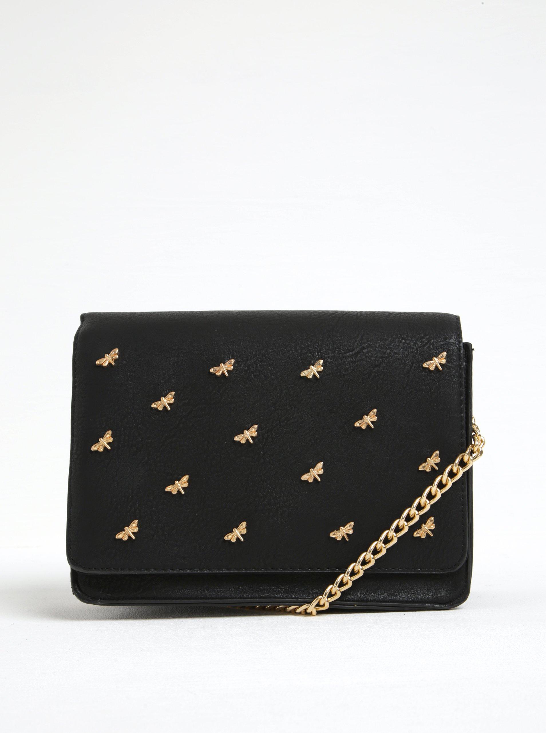 Černá crossbody kabelka s aplikací ve zlaté barvě VERO MODA Bia