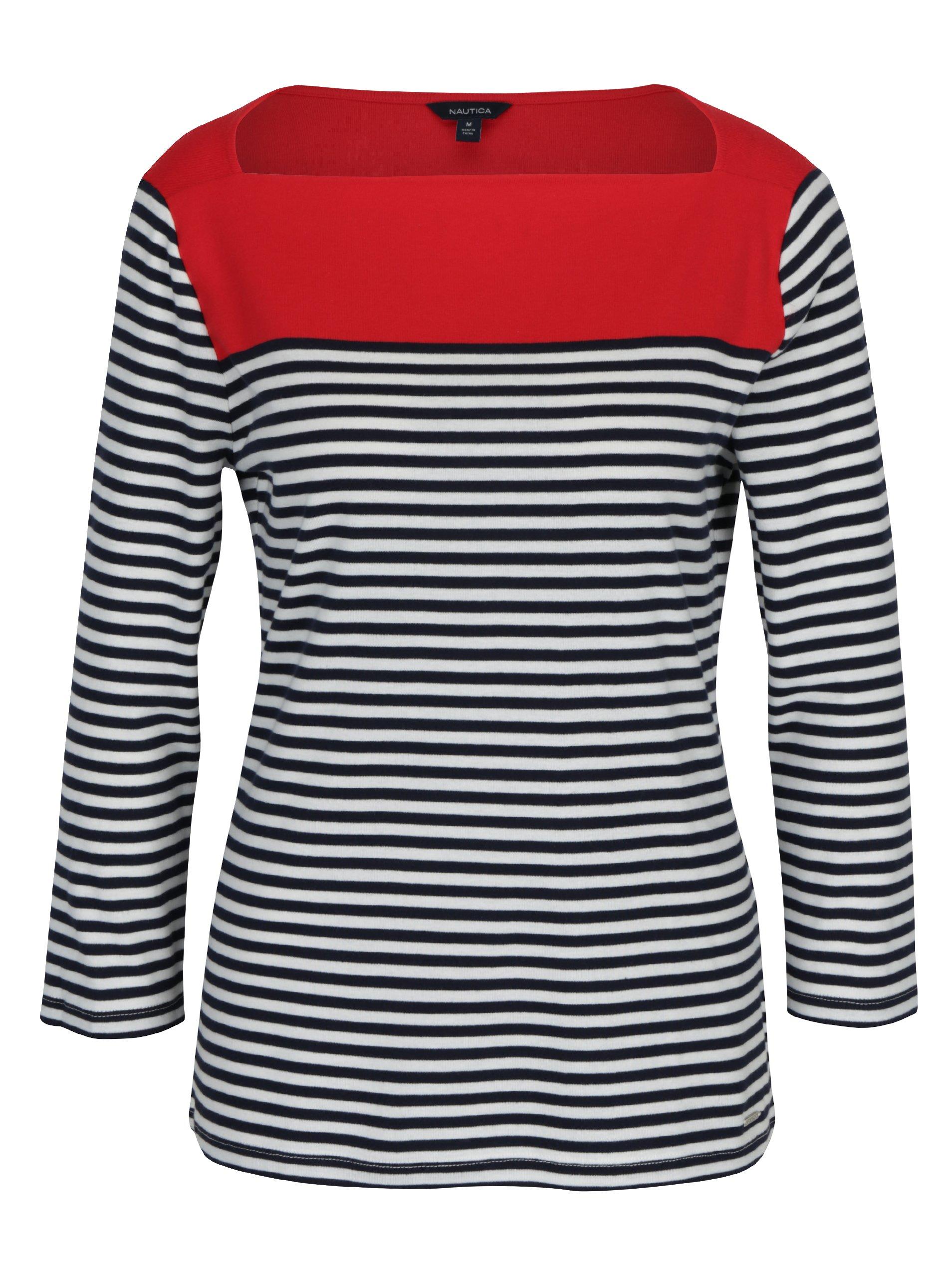 Modro-červené pruhované tričko s lodičkovým výstřihem Nautica
