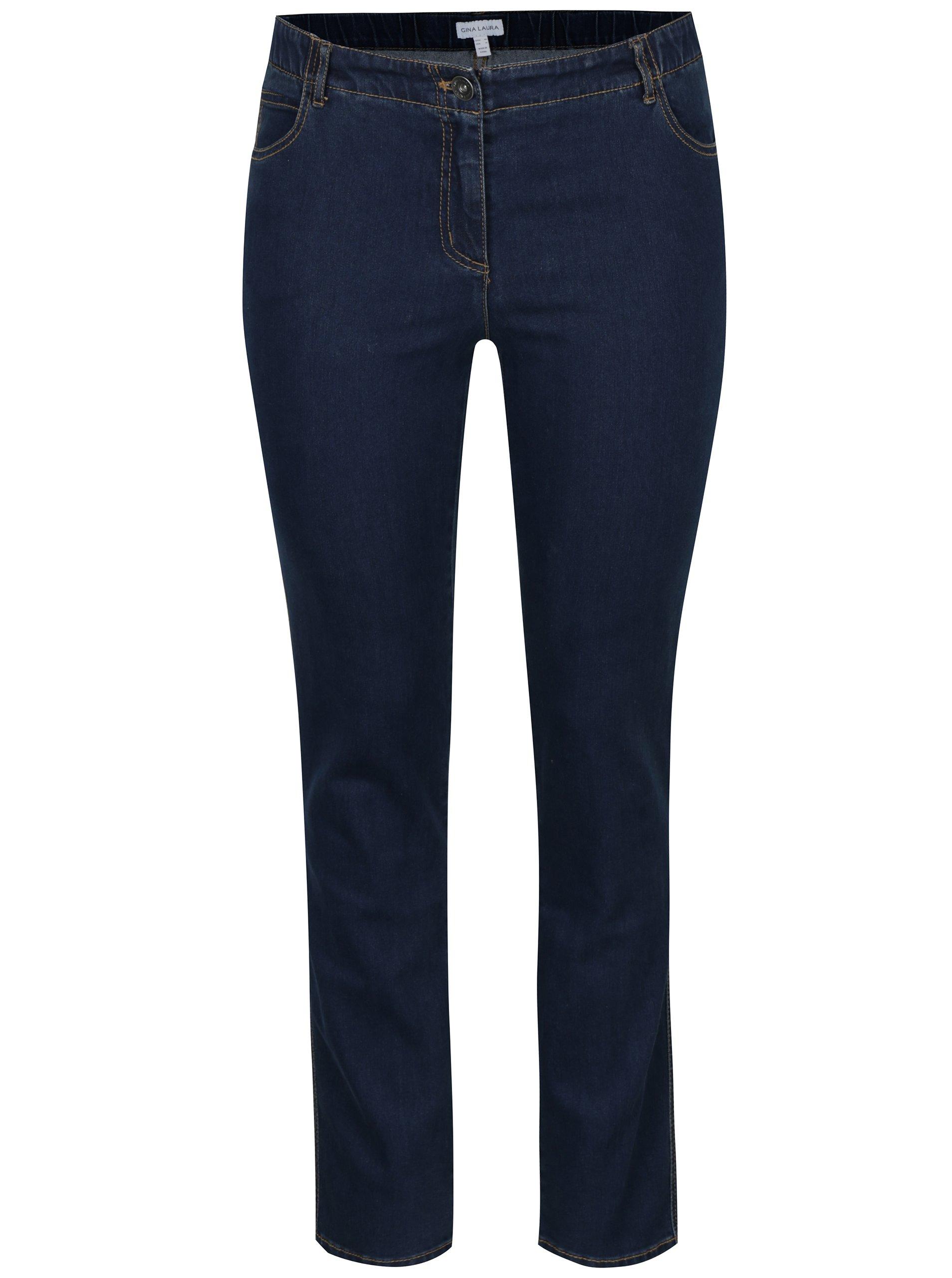 Tmavě modré slim džíny s pružným pasem Gina Laura