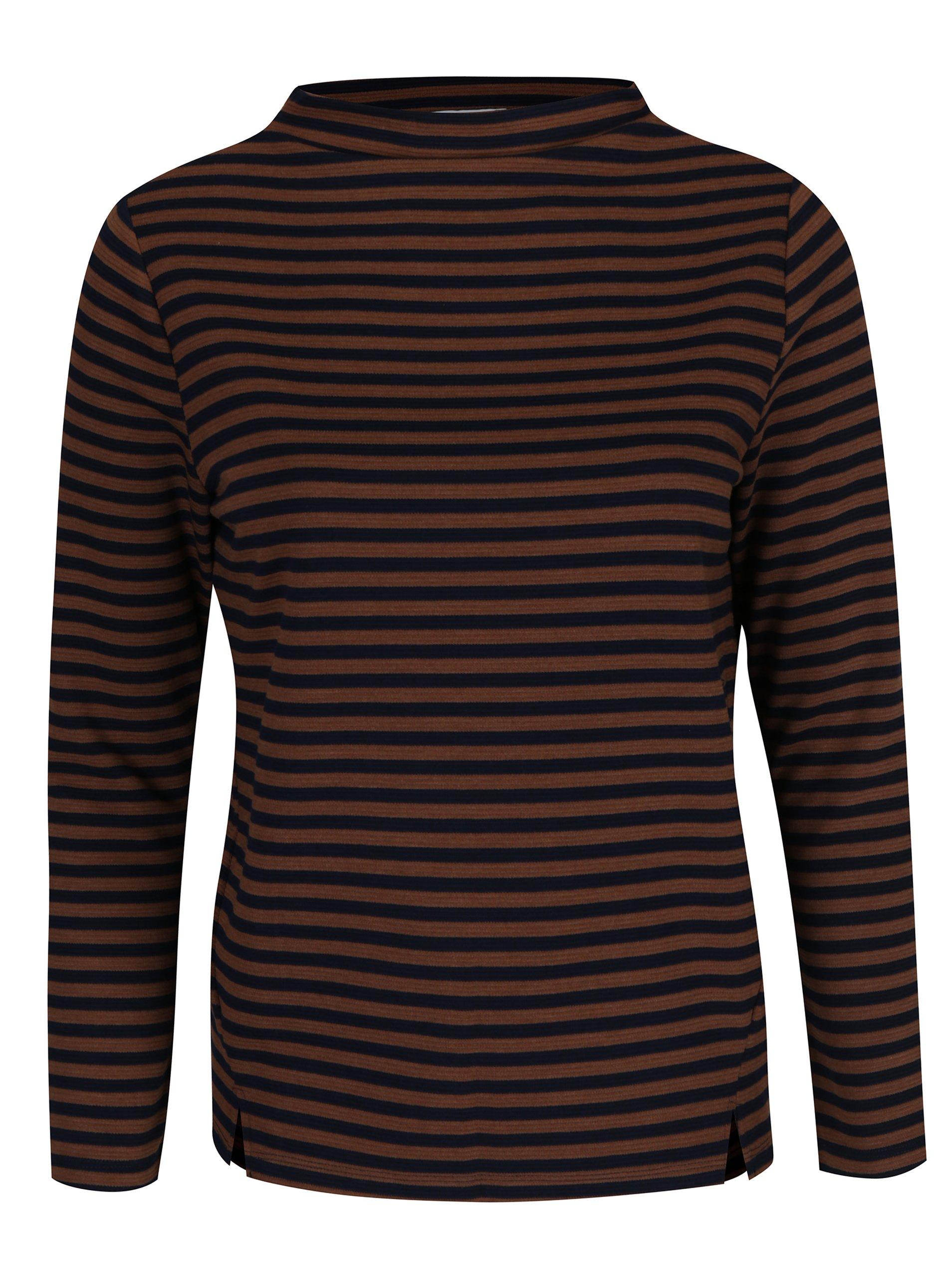 Modro-hnědé pruhované tričko s dlouhým rukávem Gina Laura