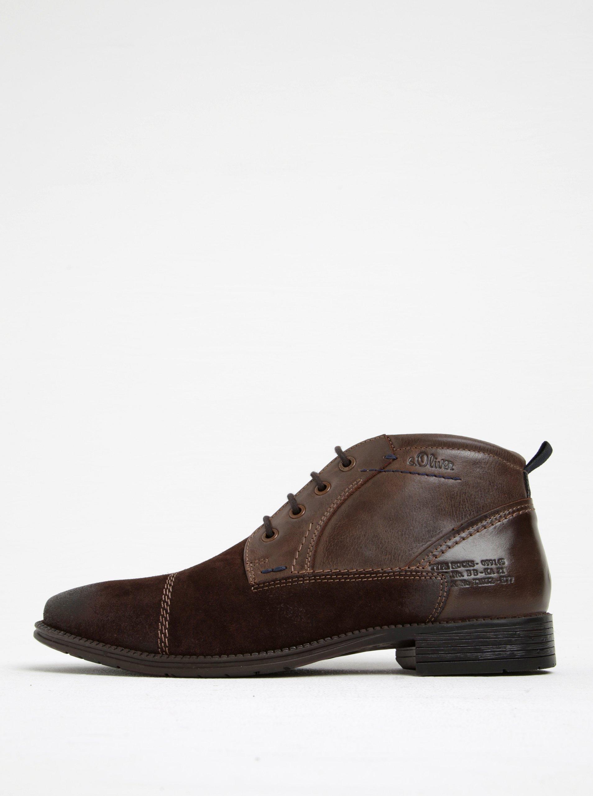 Tmavohnedé pánske kožené členkové topánky s.Oliver