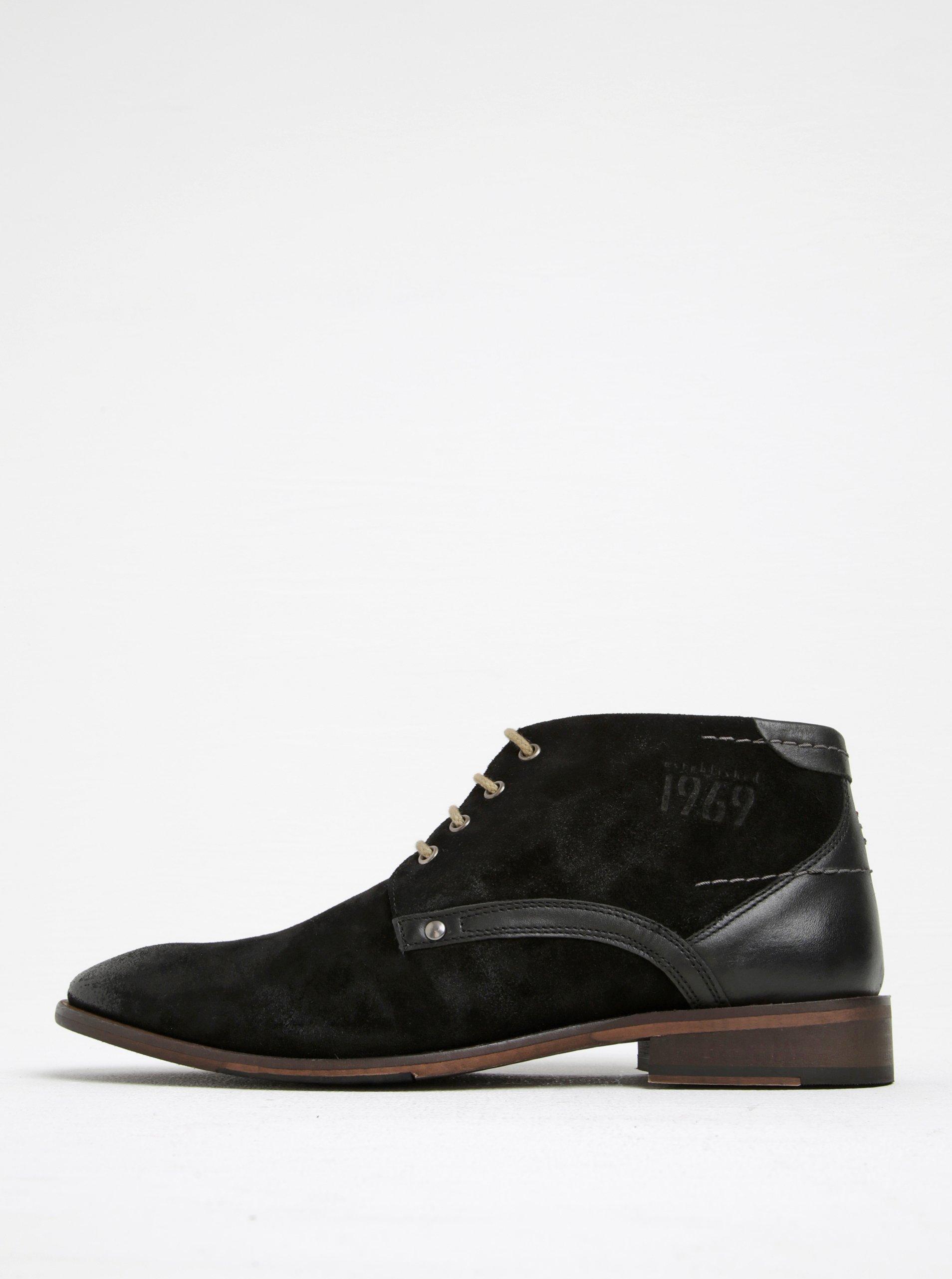 Čierne pánske semišové členkové topánky s.Oliver