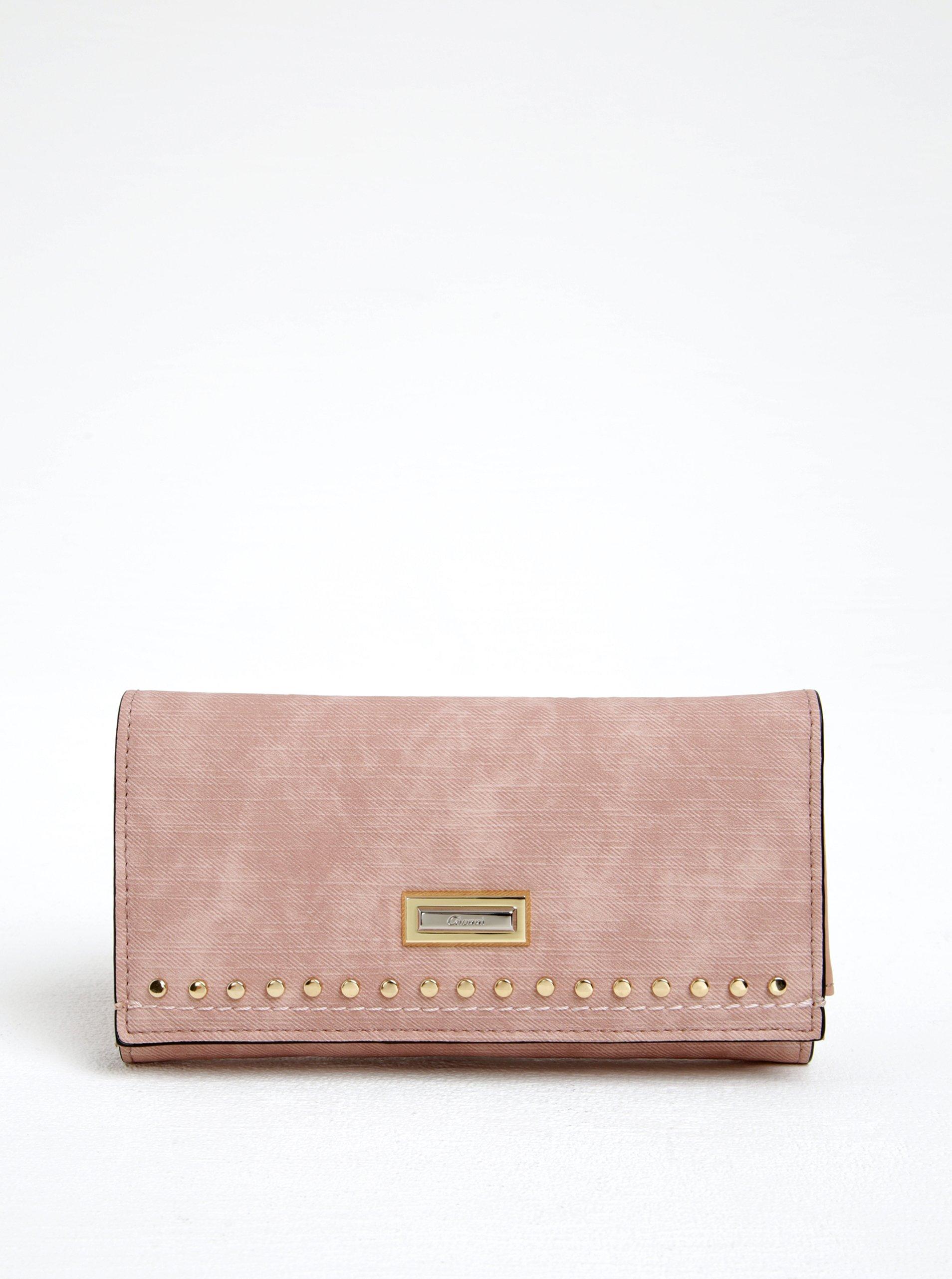 Růžová peněženka s detaily ve zlaté barvě Gionni Loretta