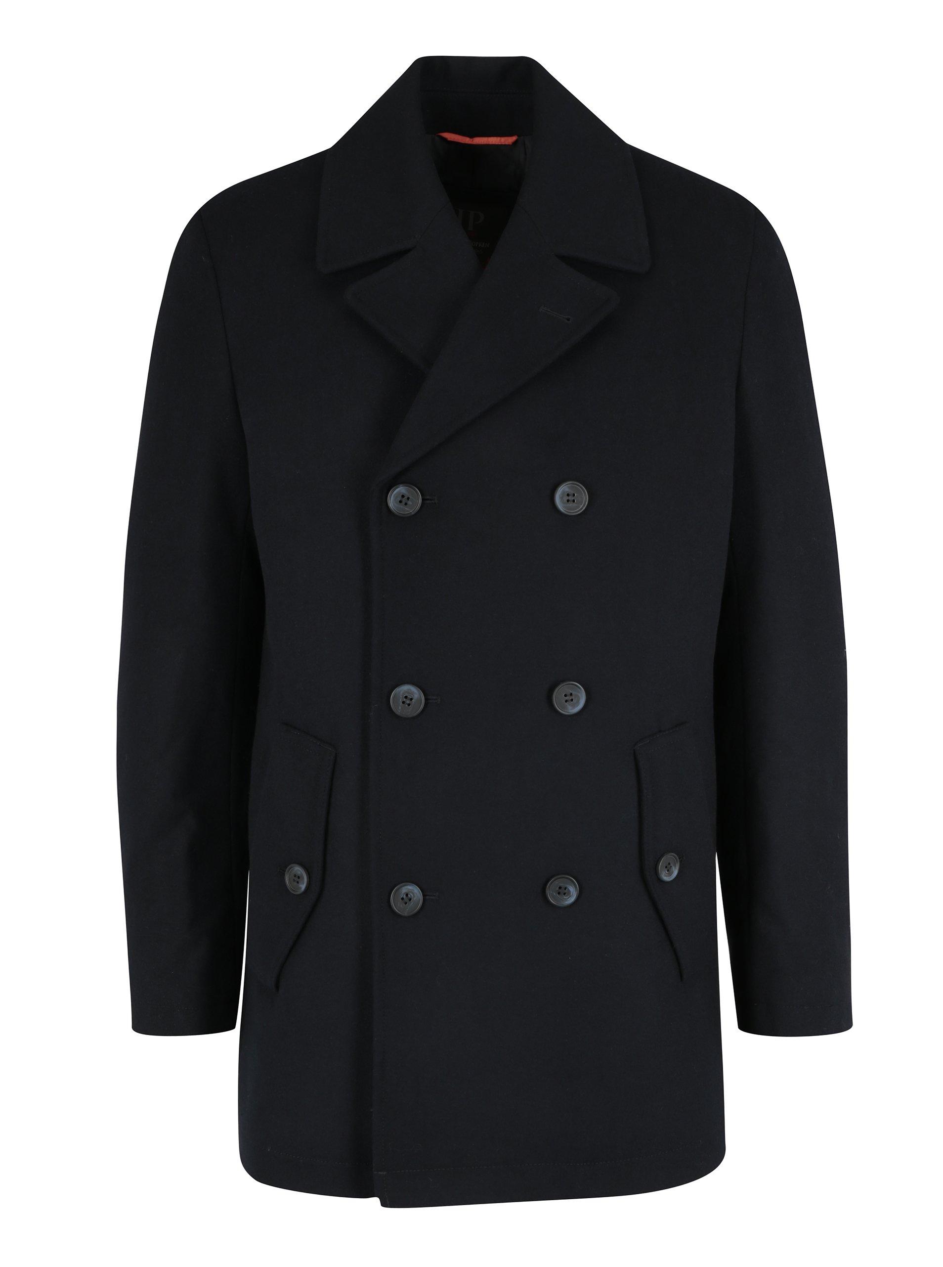 Tmavě modrý vlněný kabát s kapsami JP 1880