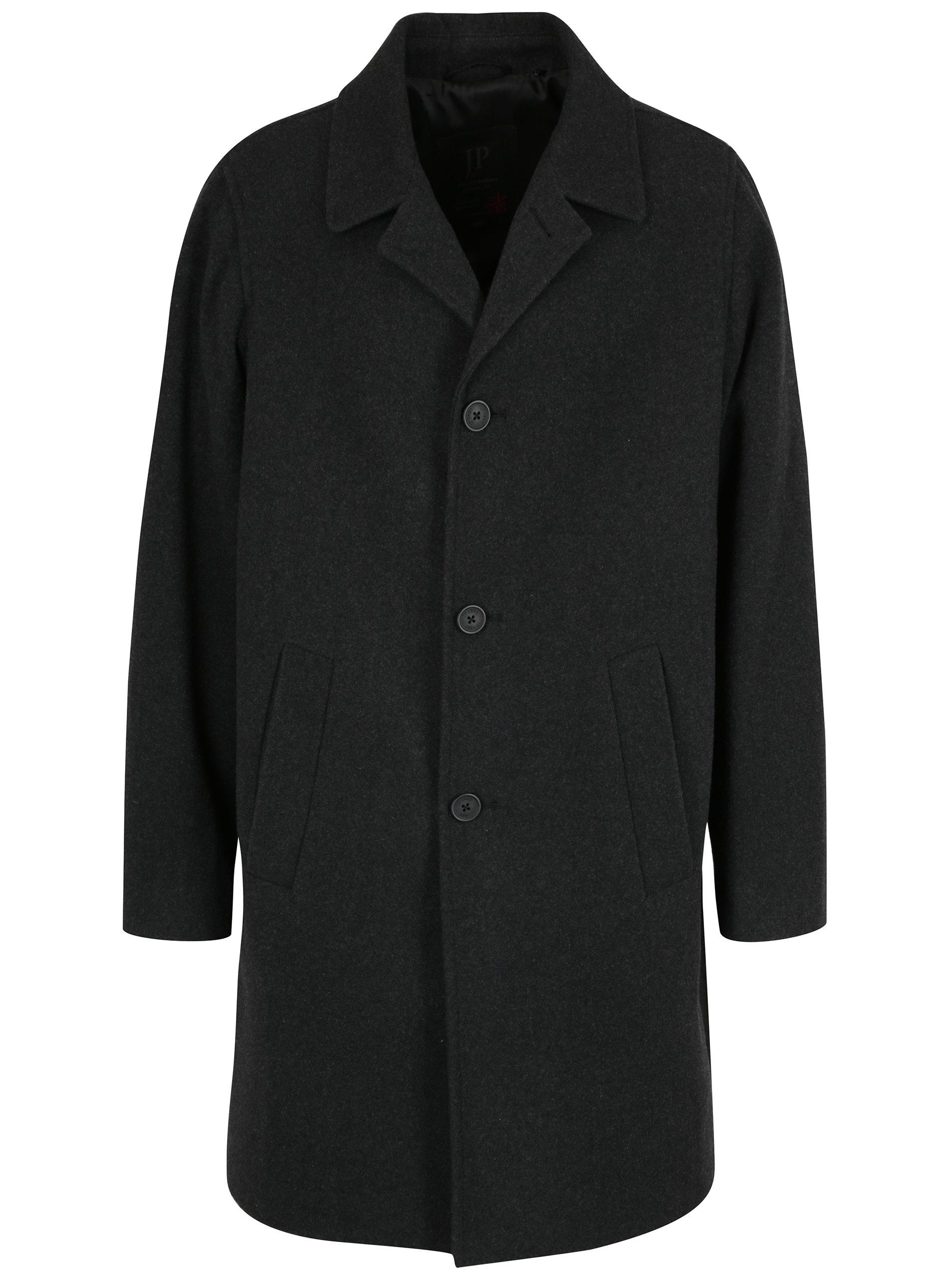 Tmavě šedý vlněný kabát s kapsami JP 1880