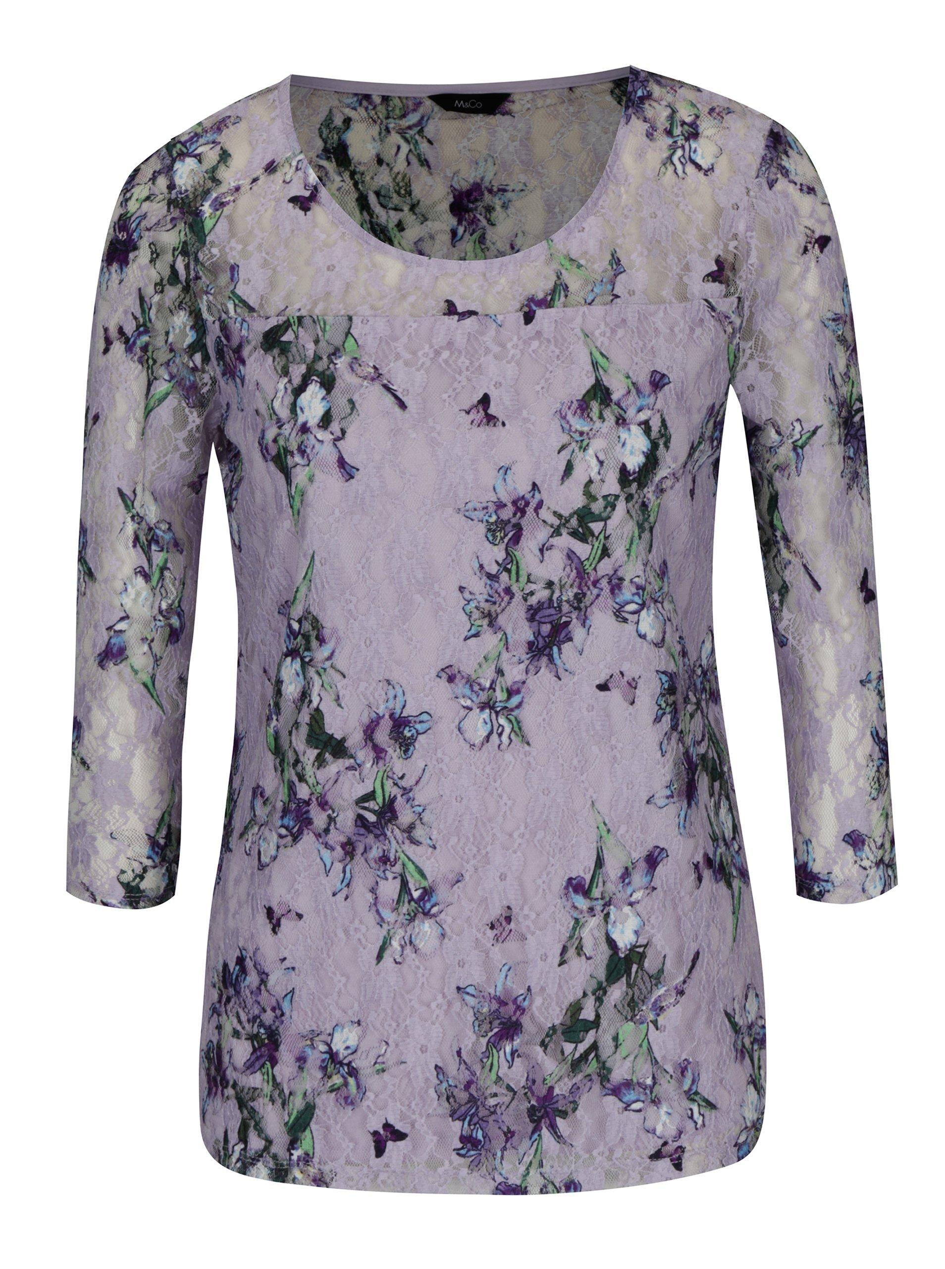 Světle fialová květovaná krajková halenka s 3/4 rukávem M&Co
